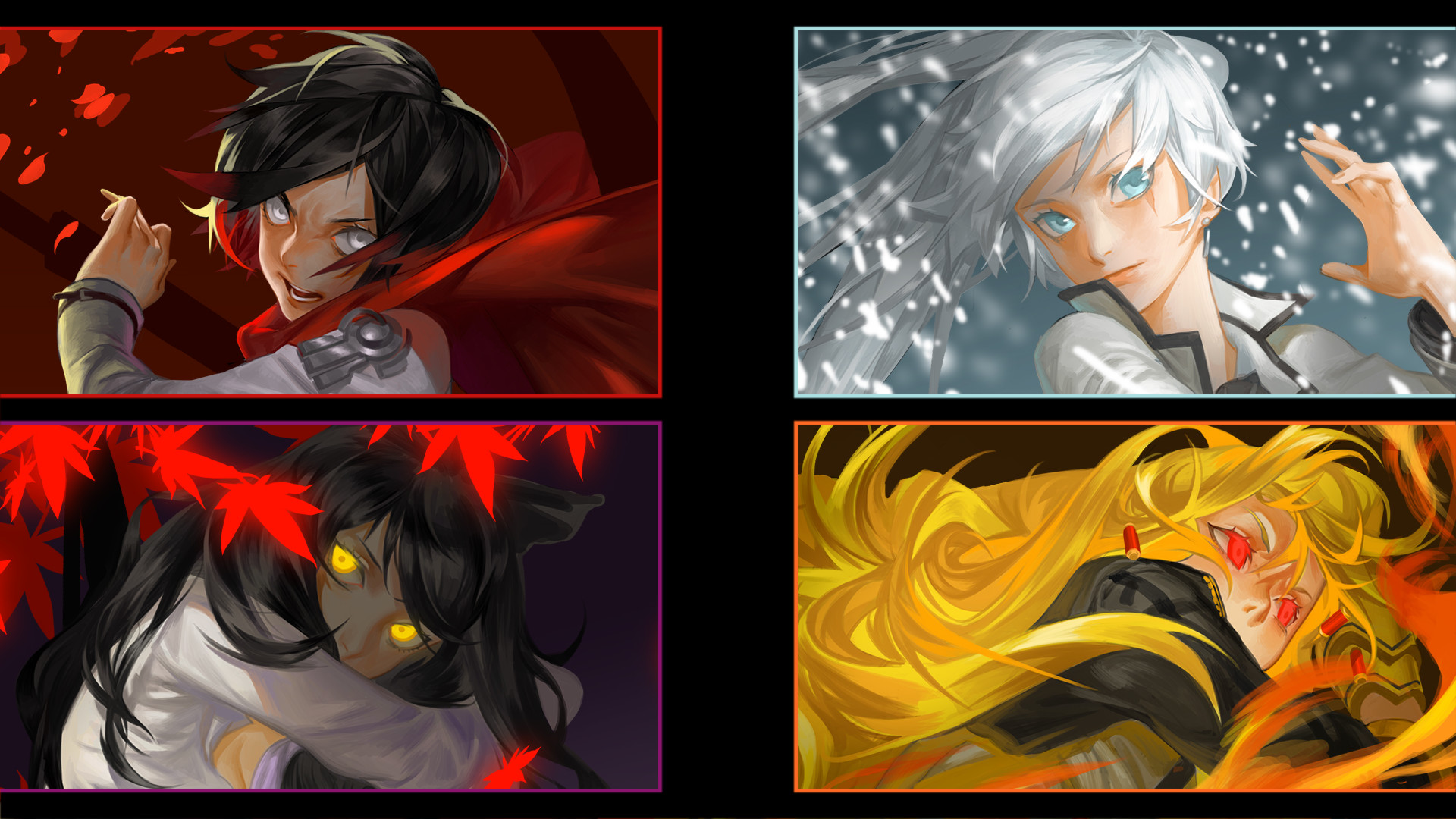 Res: 1920x1080, Anime RWBY Ruby Rose Weiss Schnee Yang Xiao Long Blake Belladonna Wallpaper