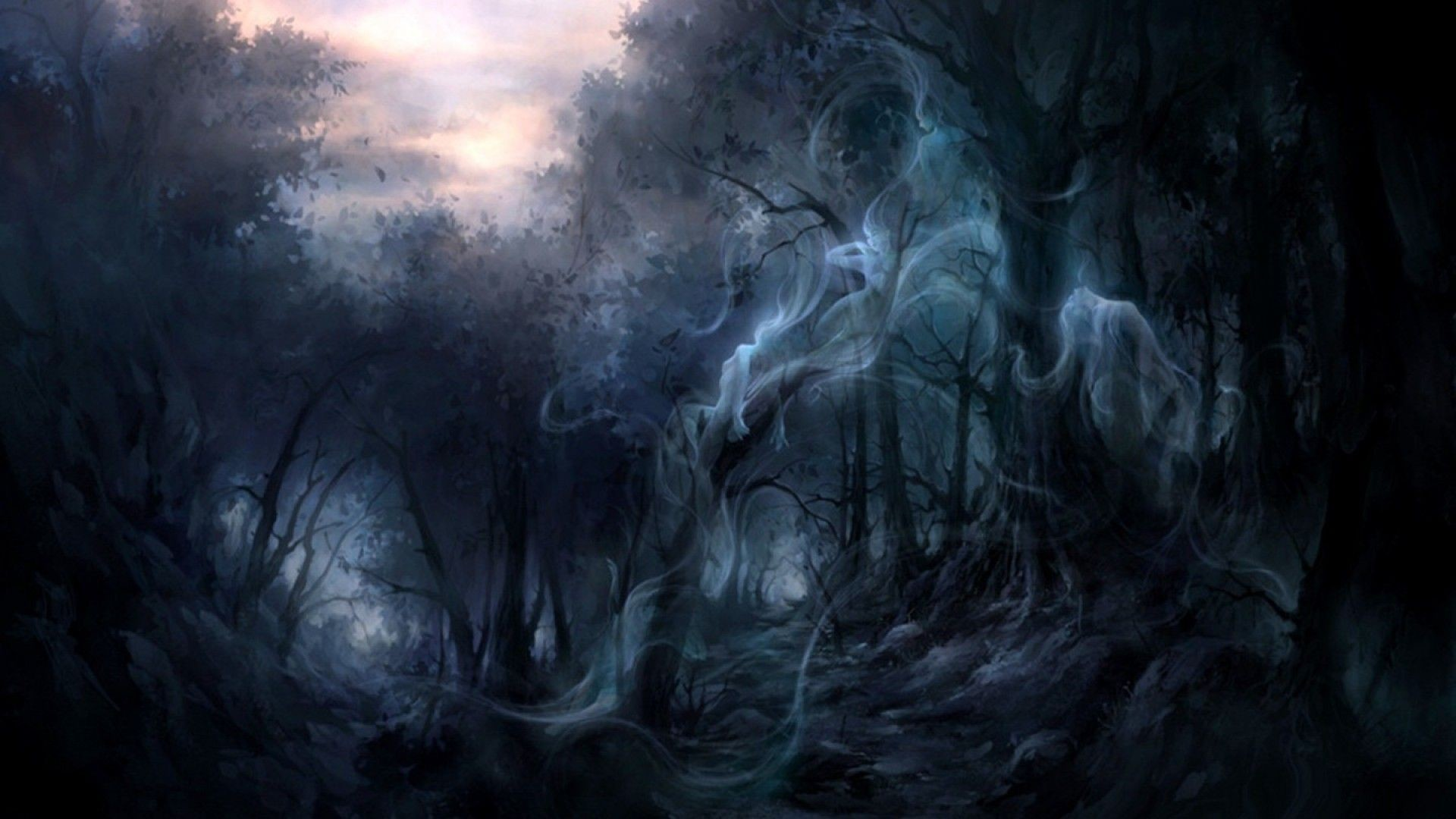 Res: 1920x1080, Dark Forest Wallpapers Wallpaper 1920×1080 Creepy Forest Backgrounds (35  Wallpapers) | Adorable