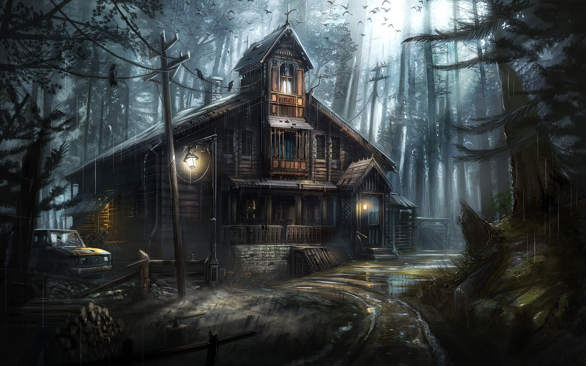 Res: 1920x1200, Artistic - House Artistic Forest Haunted Wallpaper