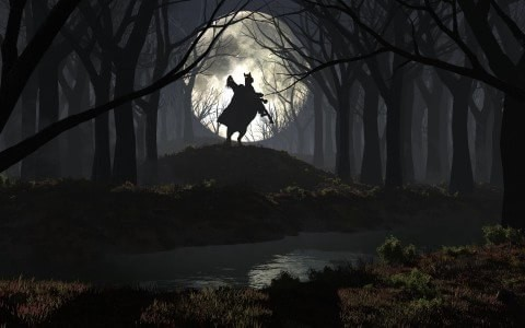 Res: 1920x1200, rider, forest, night, moon