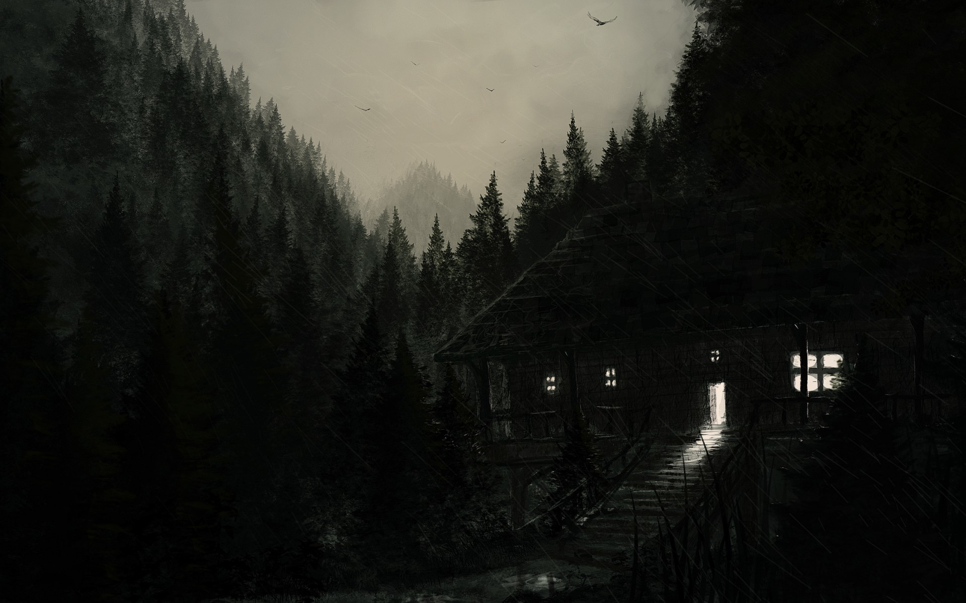 Res: 1920x1200, buildings, haunted, cabin, creepy, landscapes, spooky, artistic, art,  houses, night, blue, seasonal, forest, architecture, halloween,  trees,drawing,dark ...