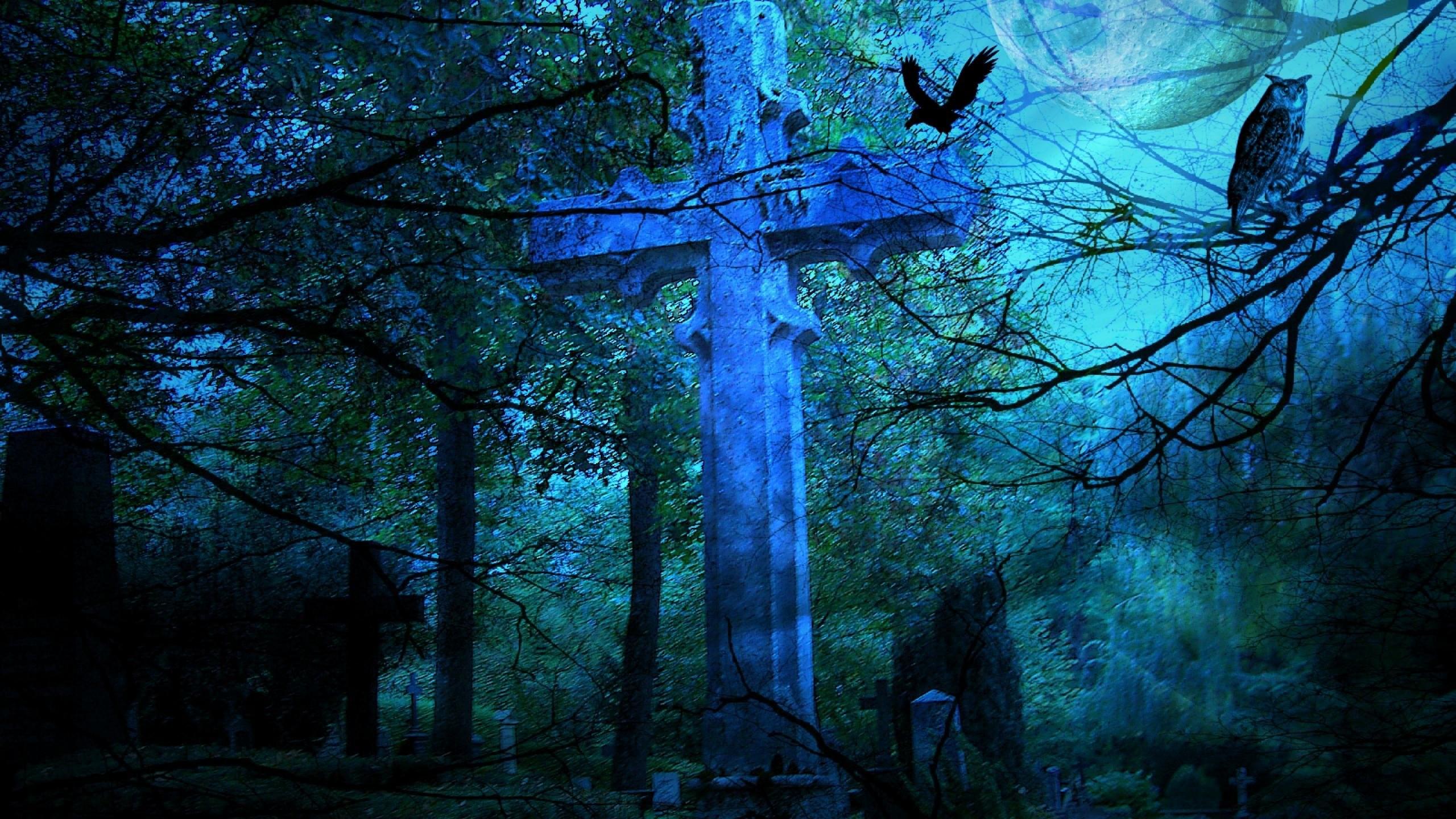 Res: 2560x1440, HALLOWEEN gothic cross forest dark crow raven wallpaper |  |  493309 | WallpaperUP