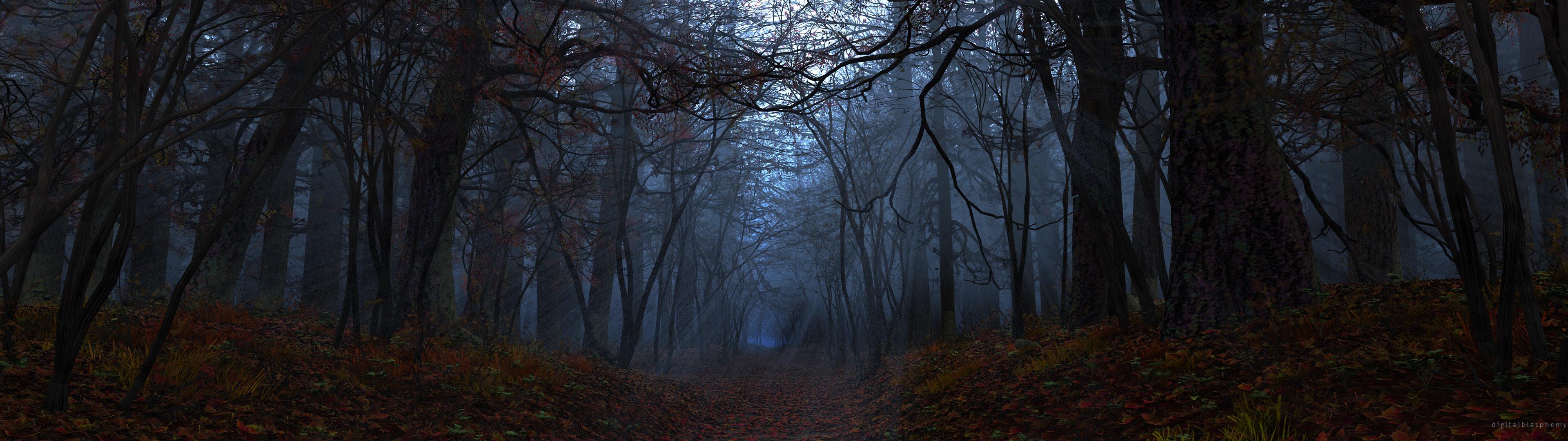 Res: 3840x1080, dark forest wallpaper 3960 x 1080 1
