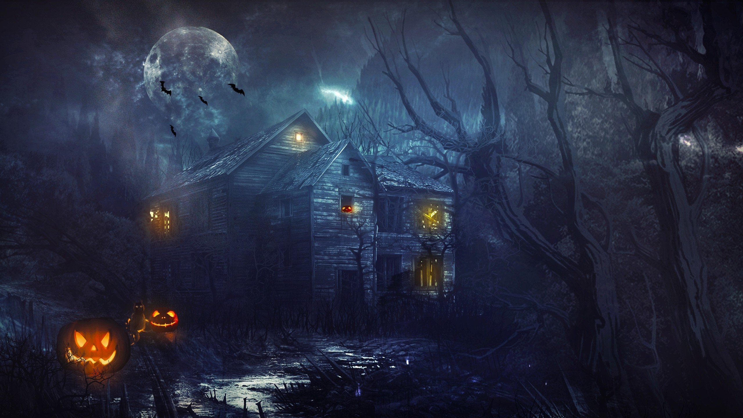 Res: 2560x1440, Haunted house wallpaper