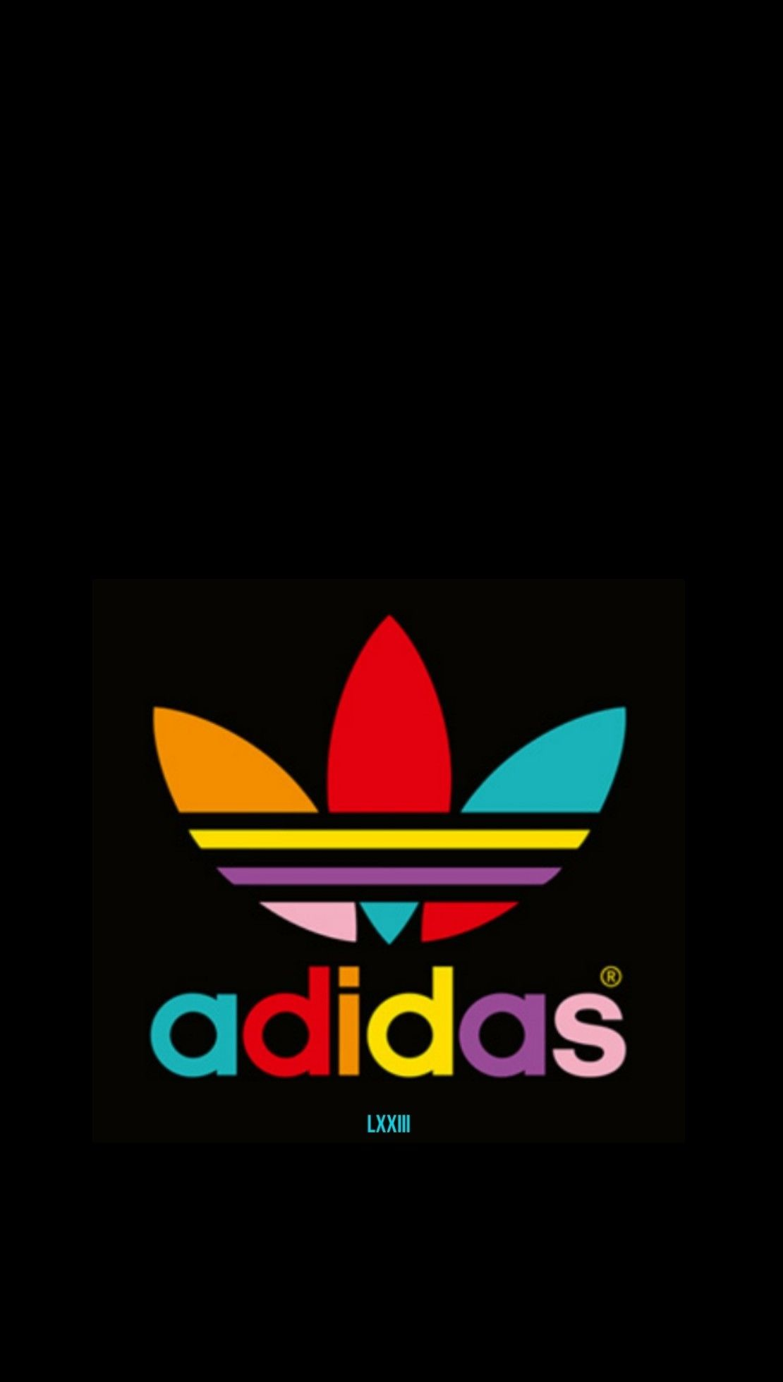 Res: 1110x1960, Colorful Adidas on Black Wallpaper