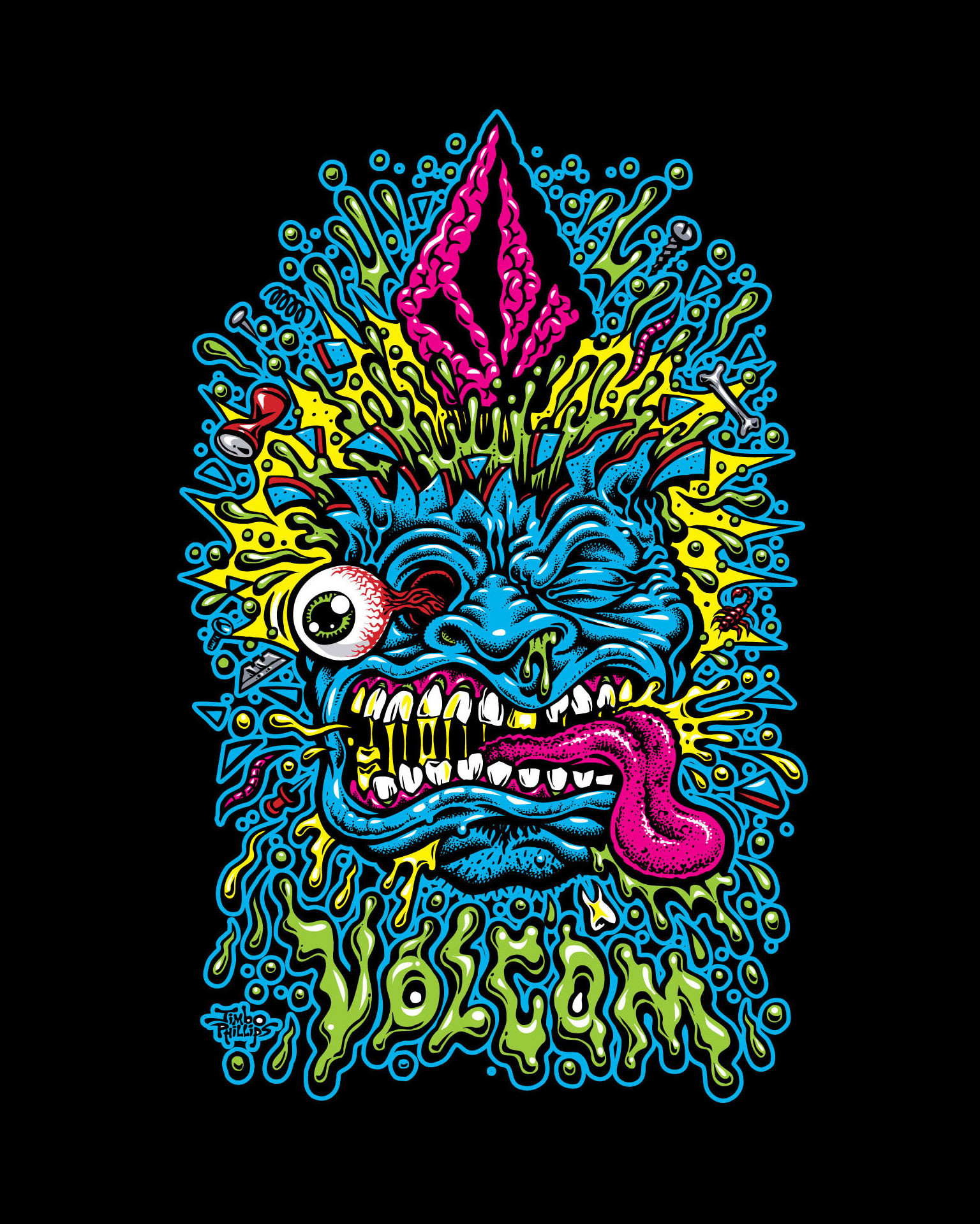 """Res: 1536x1920, """"Volcom Face"""" - Artist Jimbo Phillips' timeless skate, surf and lowbrow  style - ESPN"""