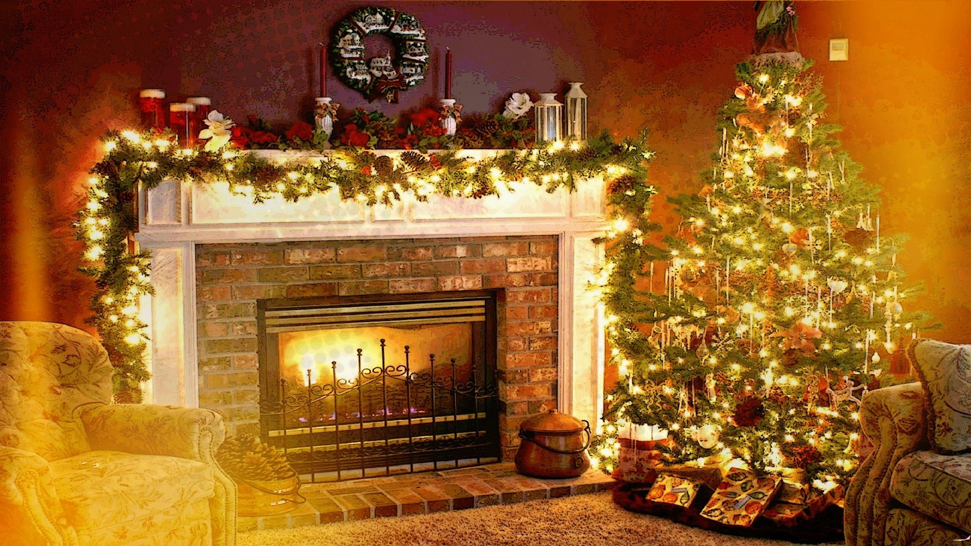 Res: 1920x1080, Christmas, Holiday, Fireplace, Interiors, Welcome Home Wallpapers HD /  Desktop and Mobile Backgrounds