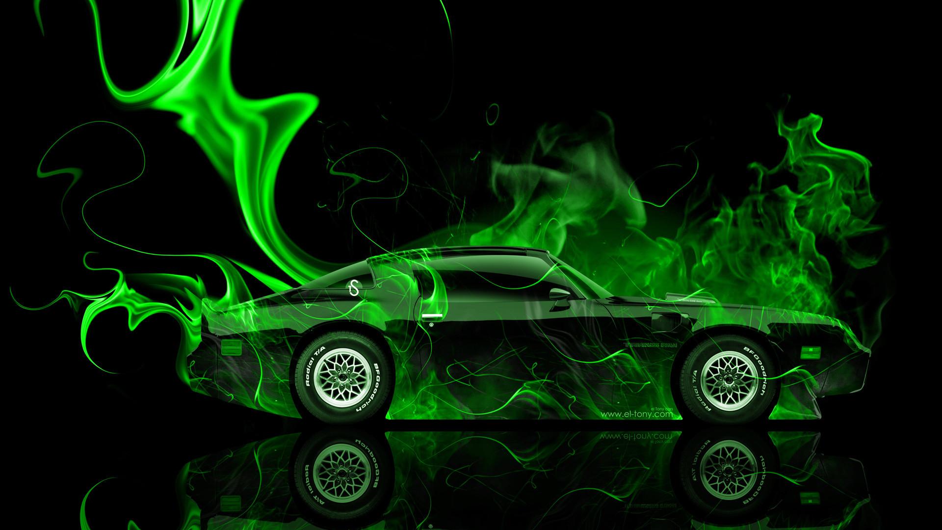 Res: 1920x1080, ... Pontiac-Firebird-Side-Green-Fire-Abstract-Car-2014- ...