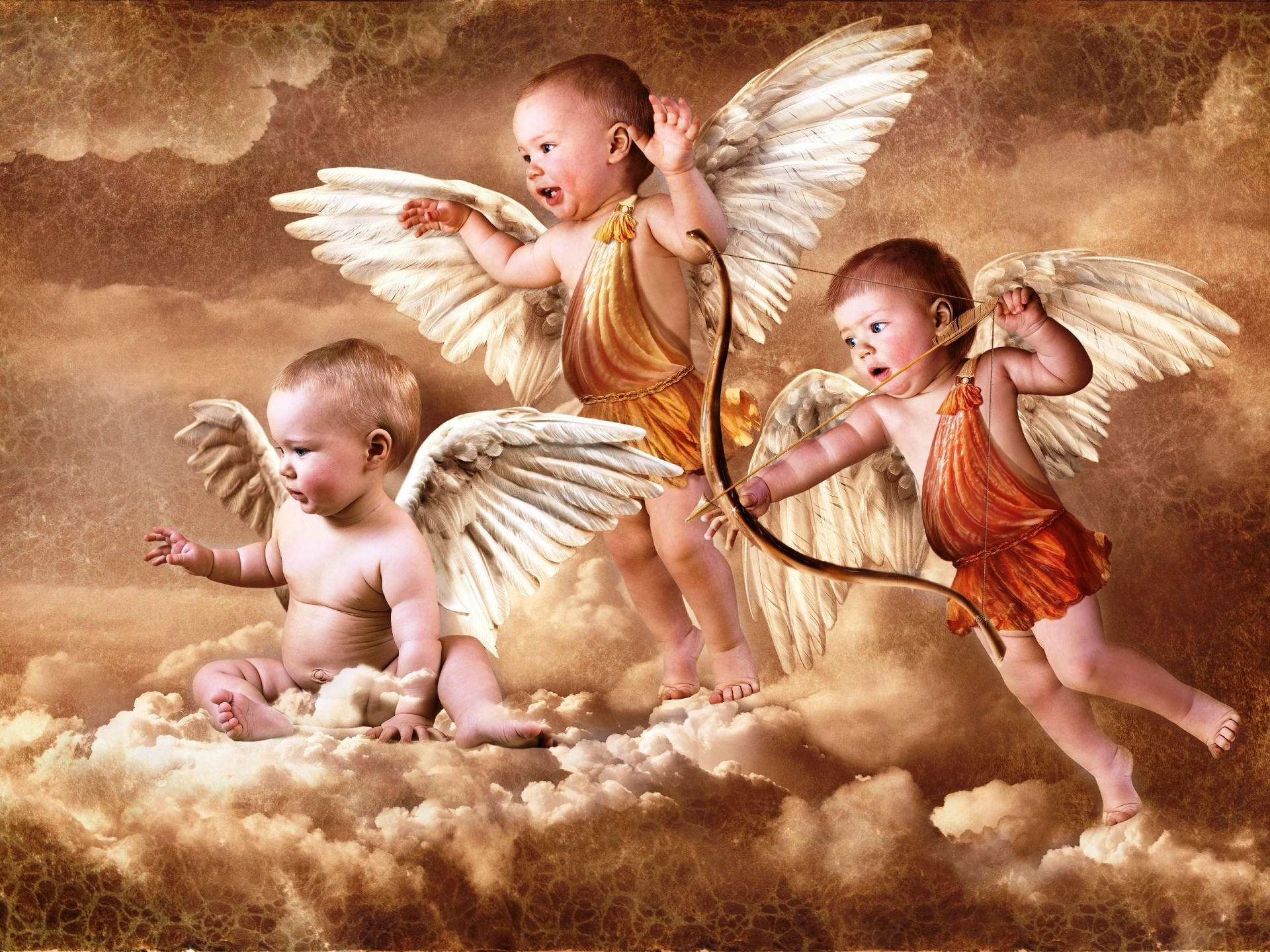 Res: 1920x1440, Angel babies flying in sky HD wallpapers