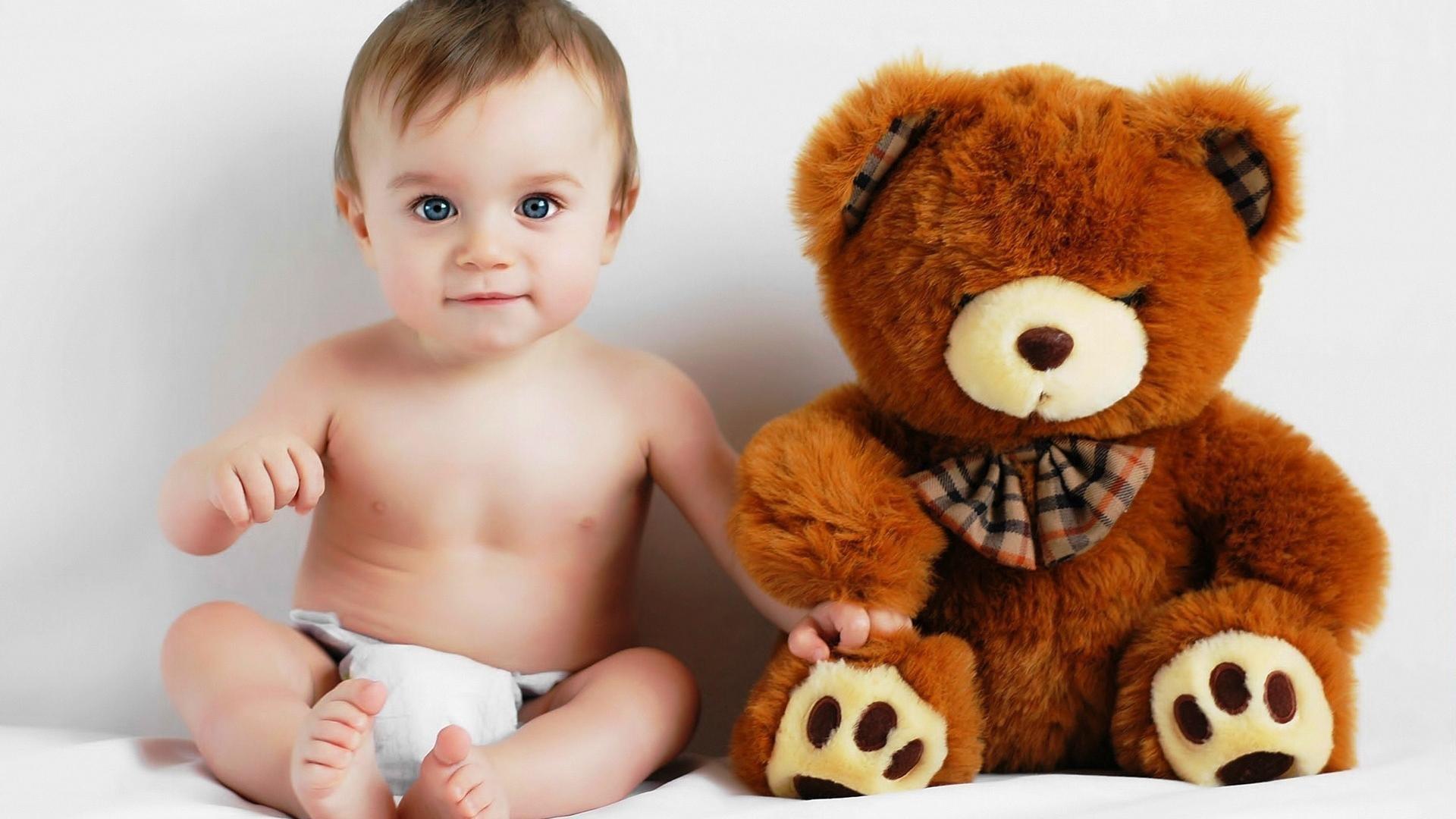 Res: 1920x1080, Cute Baby Boy With Teddy Bear