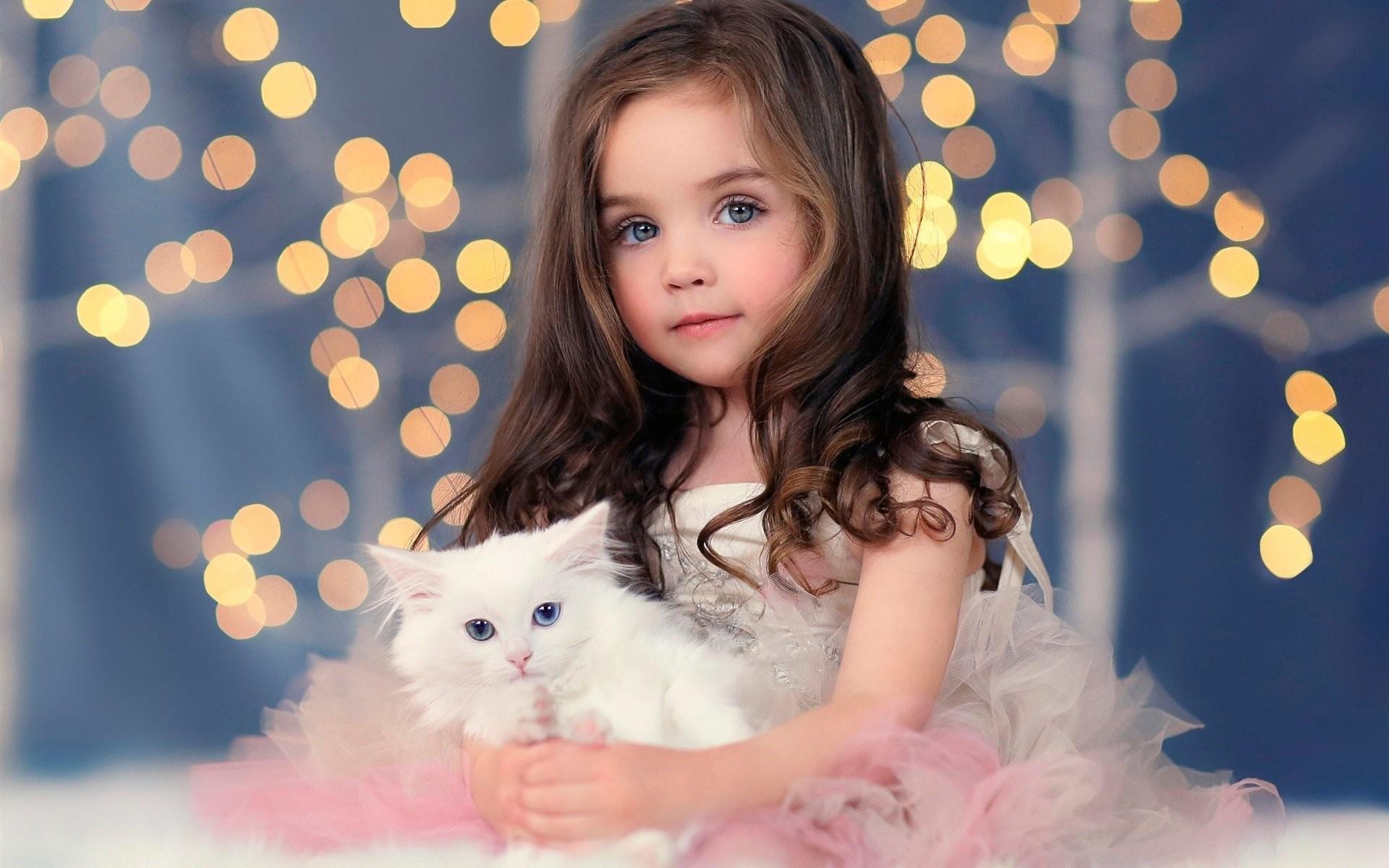 Res: 1920x1200, Children girl blonde blue eyes cat animal cute dress angel wallpaper |   | 800854 | WallpaperUP