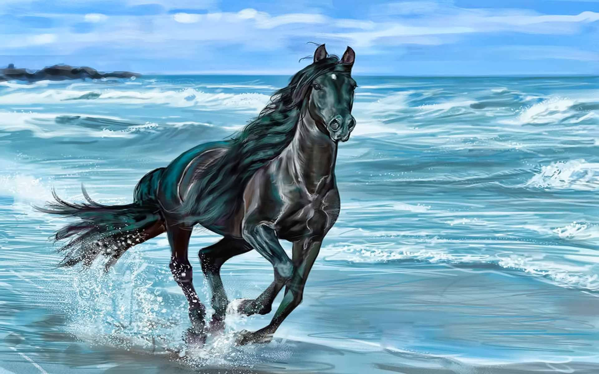 Res: 1920x1200, Horse Running On Beach wallpapers HD