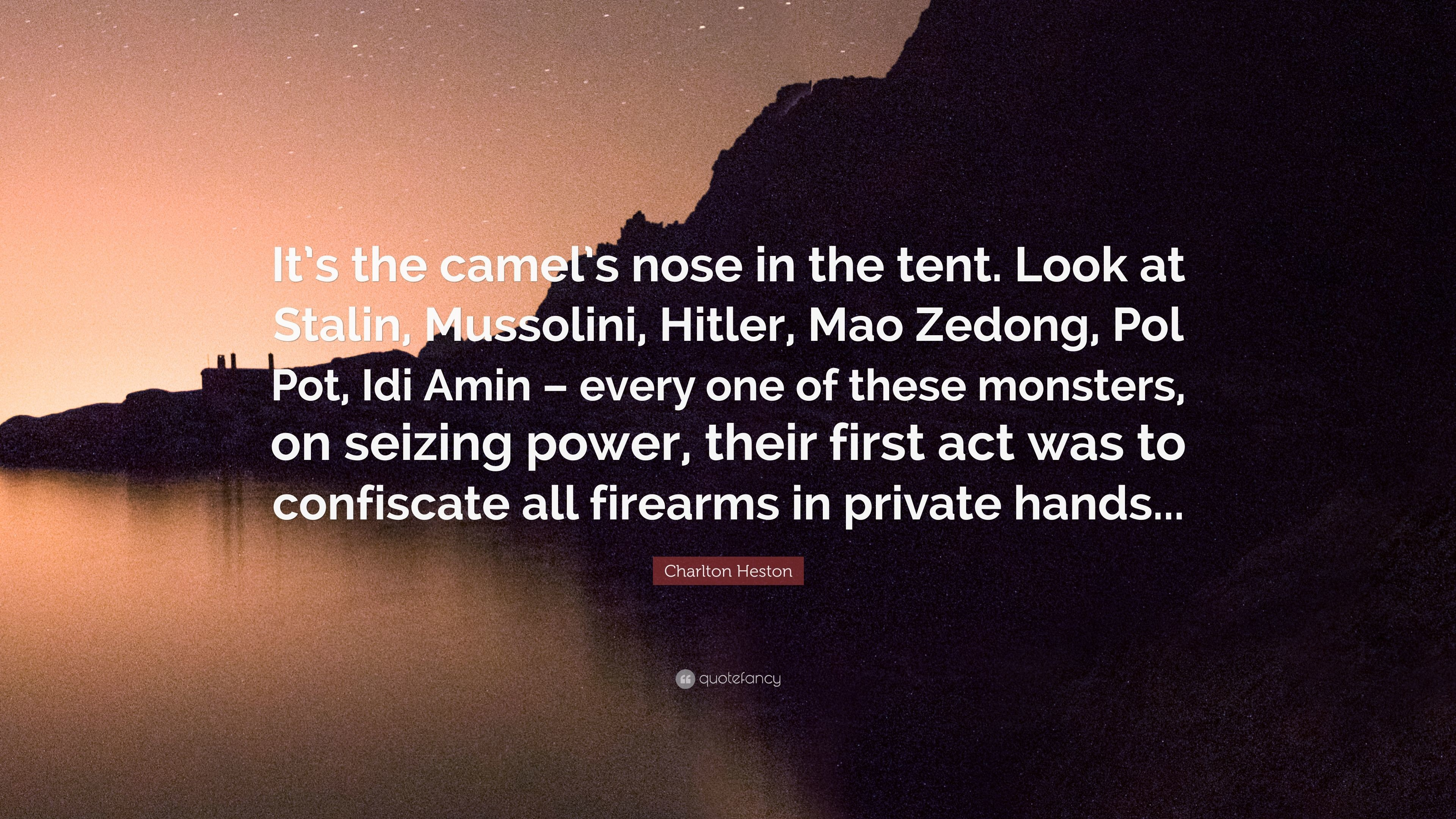 "Res: 3840x2160, Charlton Heston Quote: ""It's the camel's nose in the tent. Look at Stalin"