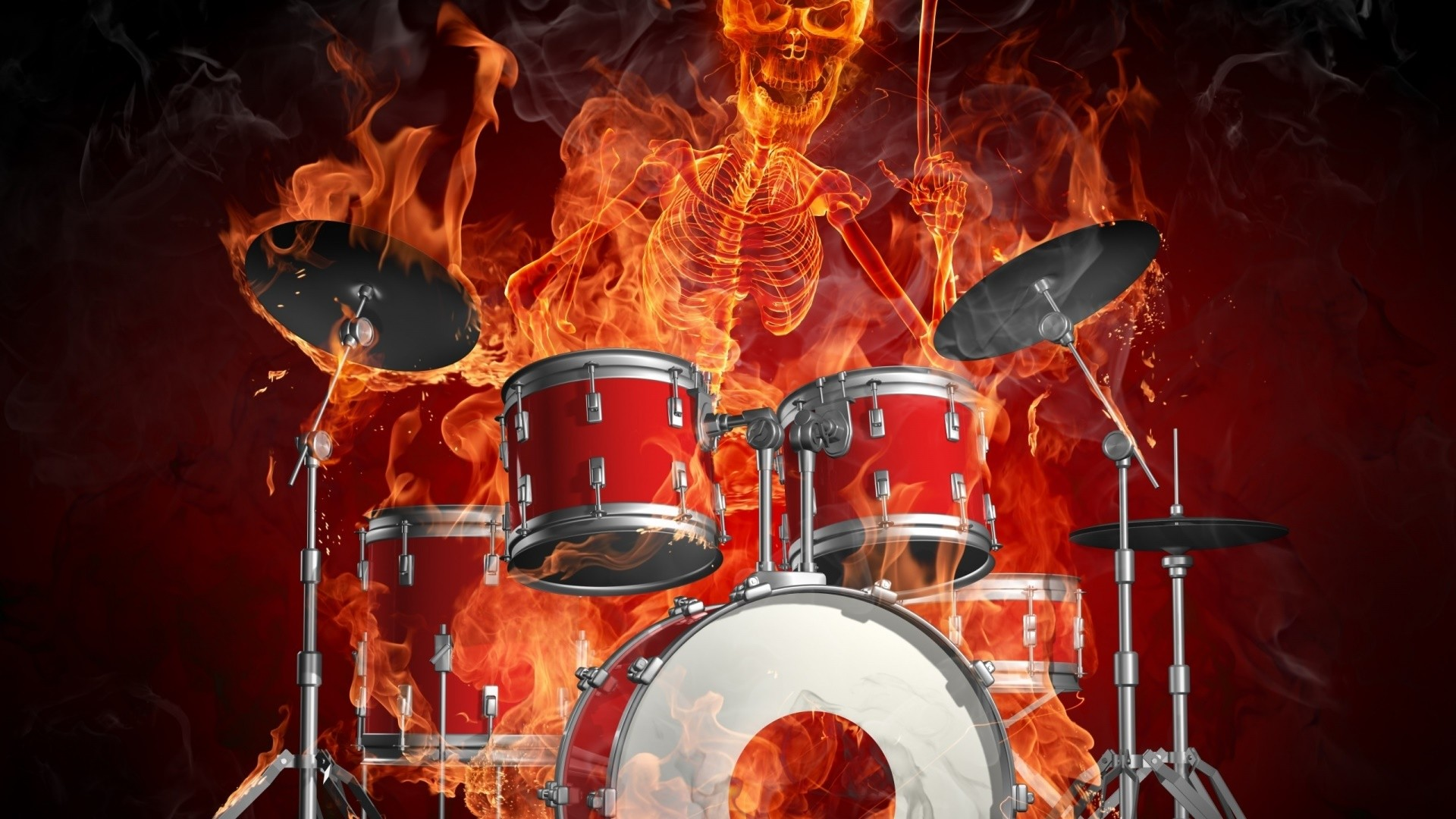 Res: 1920x1080, Drums And A Skeleton Of A Man Burn In Flames Wallpaper | Wallpaper Studio  10 | Tens of thousands HD and UltraHD wallpapers for Android, Windows and  Xbox