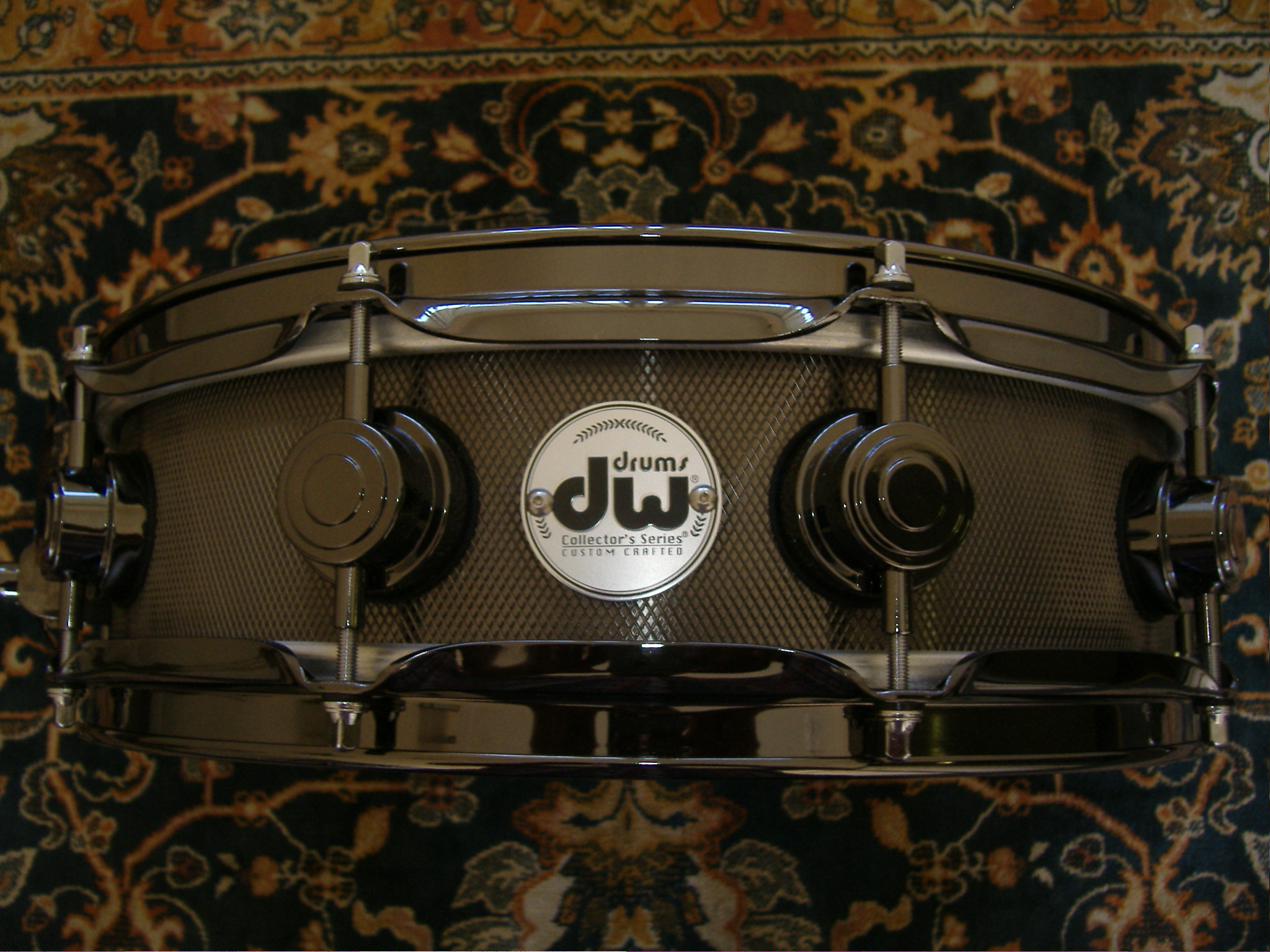 Res: 2048x1536, DW Black Knurled Steel Snare Drum 4X14 with Black Hardware Custom Order
