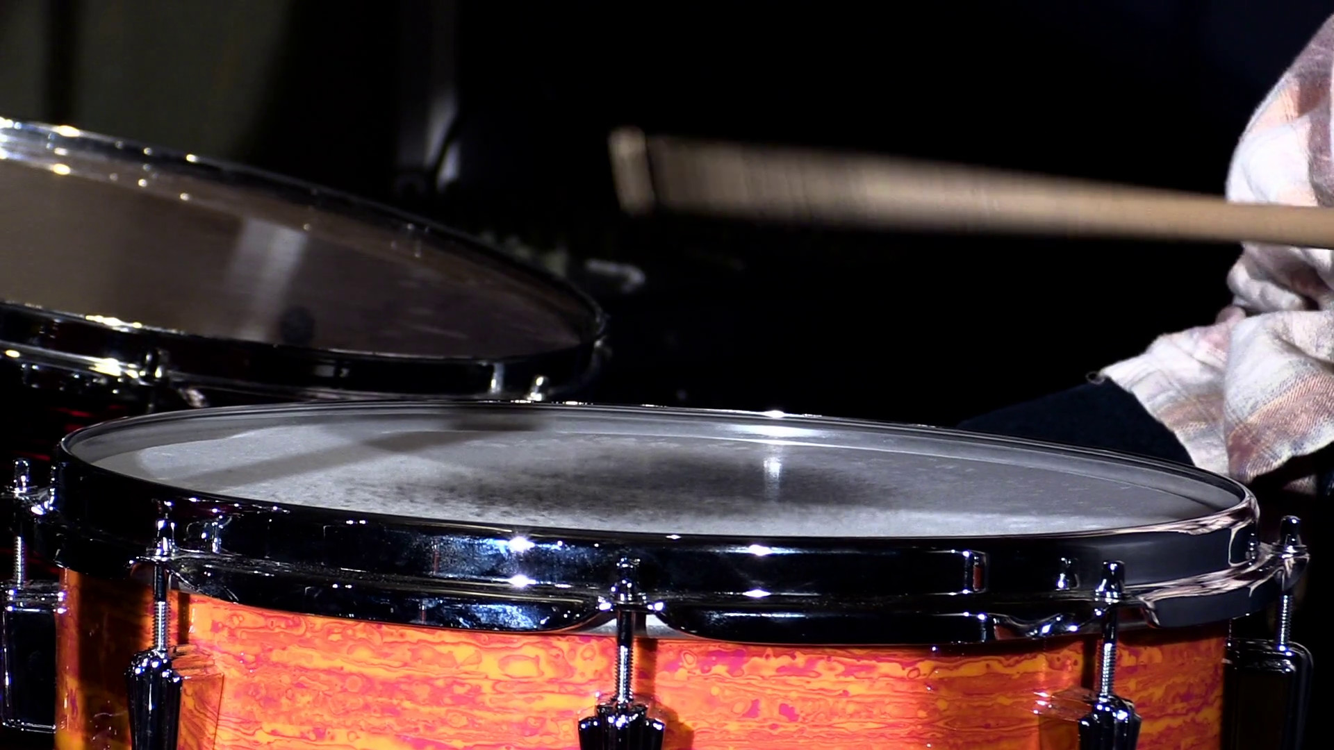 Res: 1920x1080, Slow motion close up shot of drums sticks hitting a snare drum with a tom  drum in the background Stock Video Footage - Videoblocks