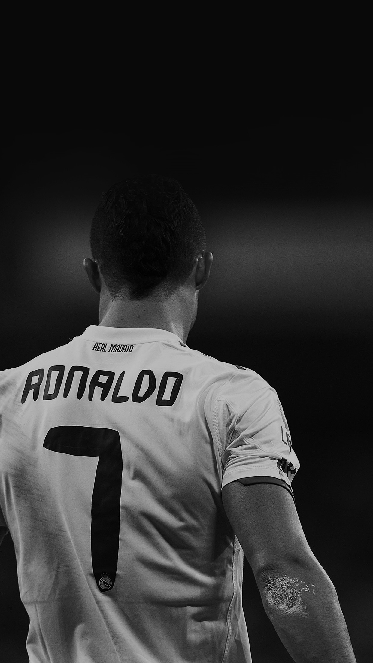 Res: 1242x2208, Cristiano Ronaldo 7 Real Madrid Soccer Black And White Star Android  Wallpaper ...