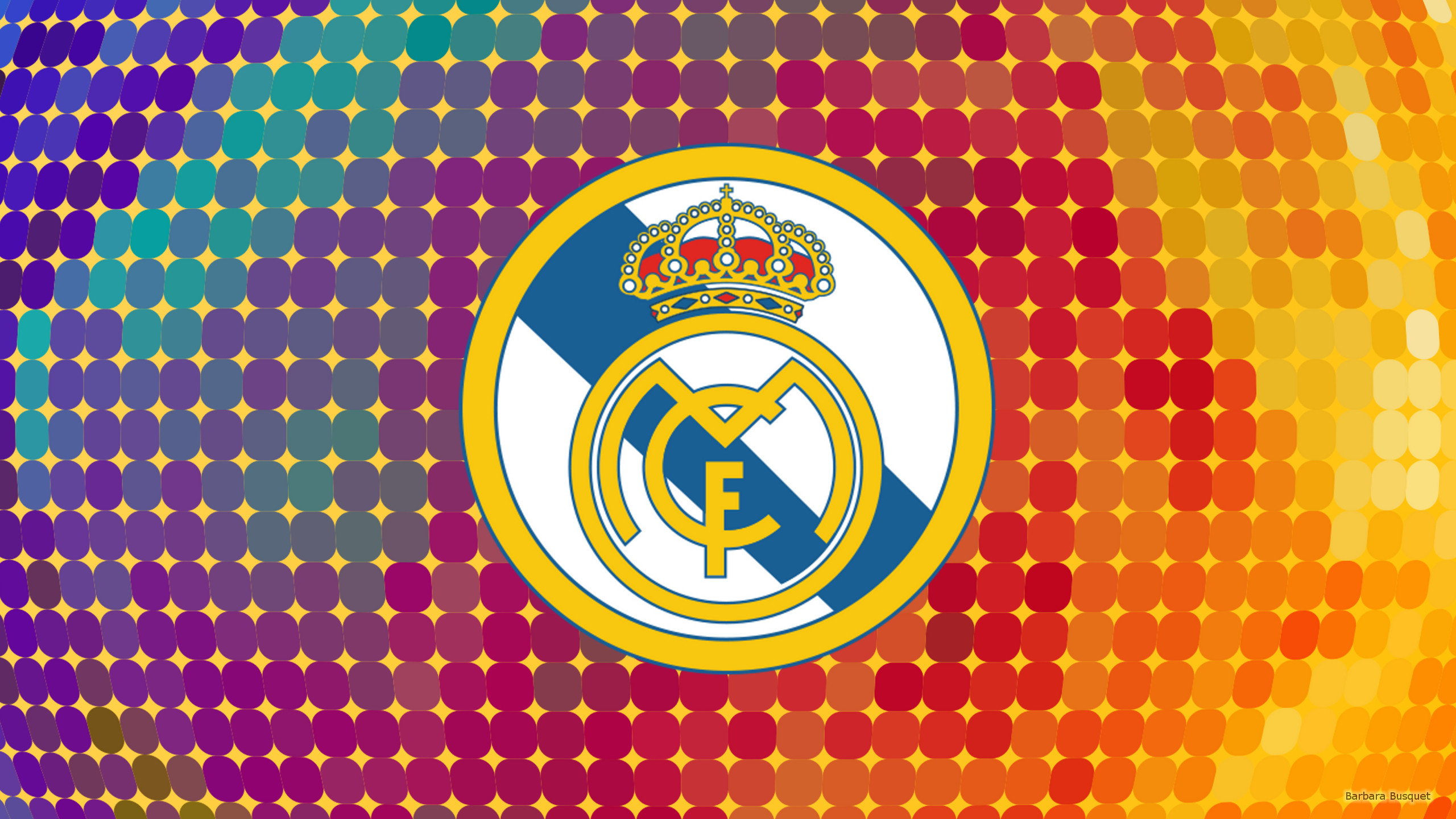 Res: 2560x1440, Colorful Real Madrid logo wallpaper