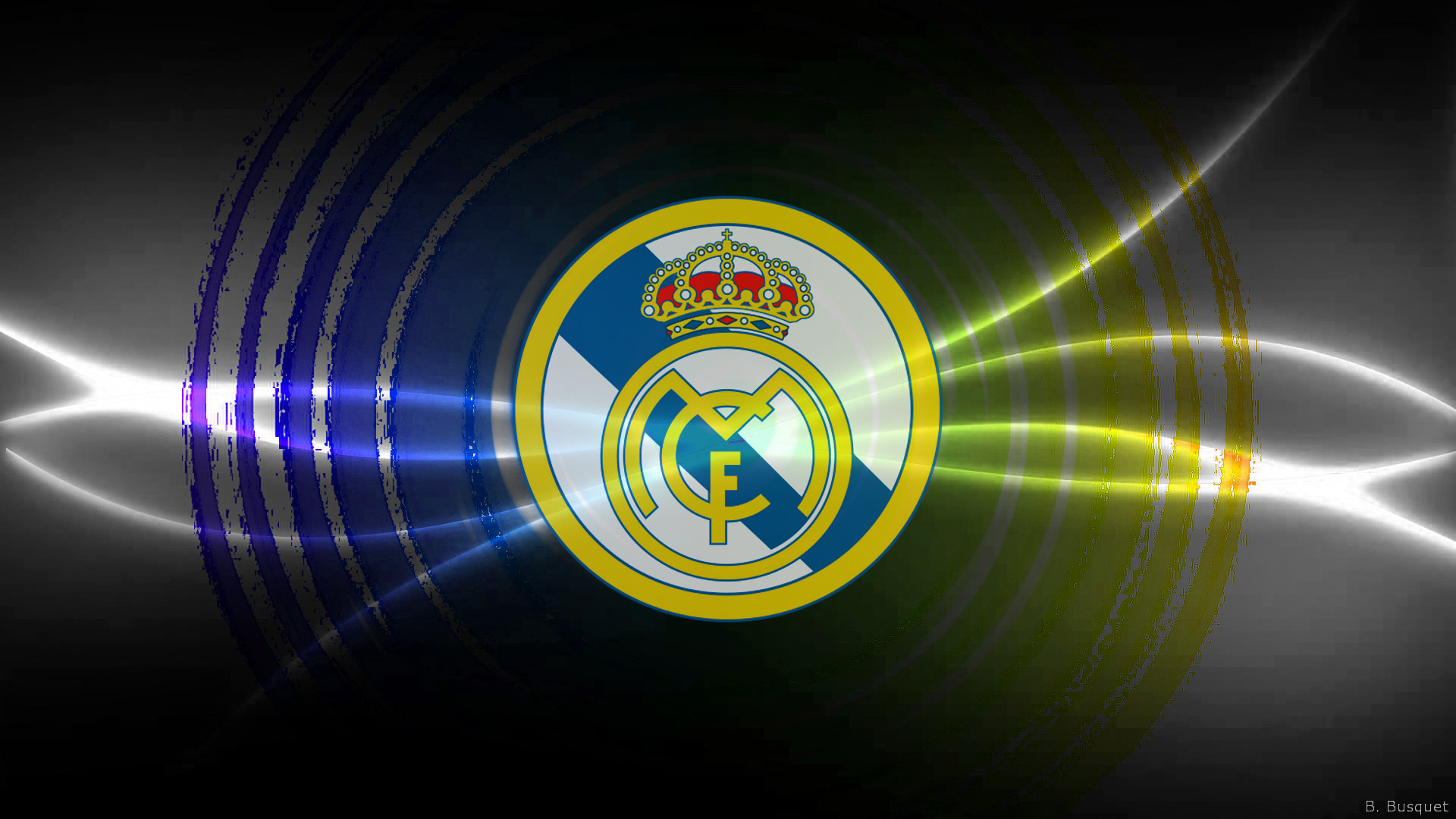 Res: 1920x1080, silver Madrid FC wallpaper with blue and yellow colors