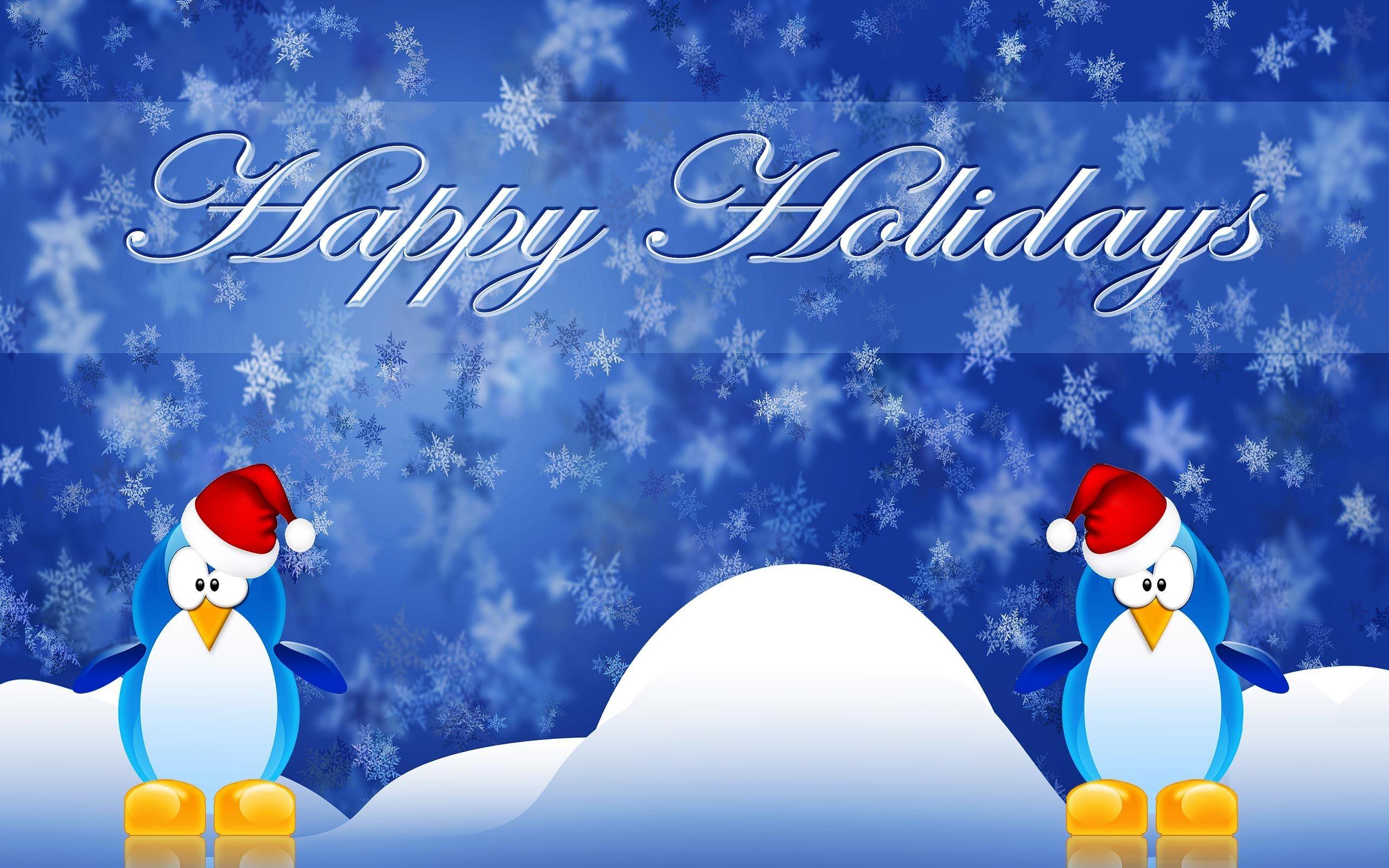 Res: 2560x1600, Happy Winter Holidays Penguins  wallpaper
