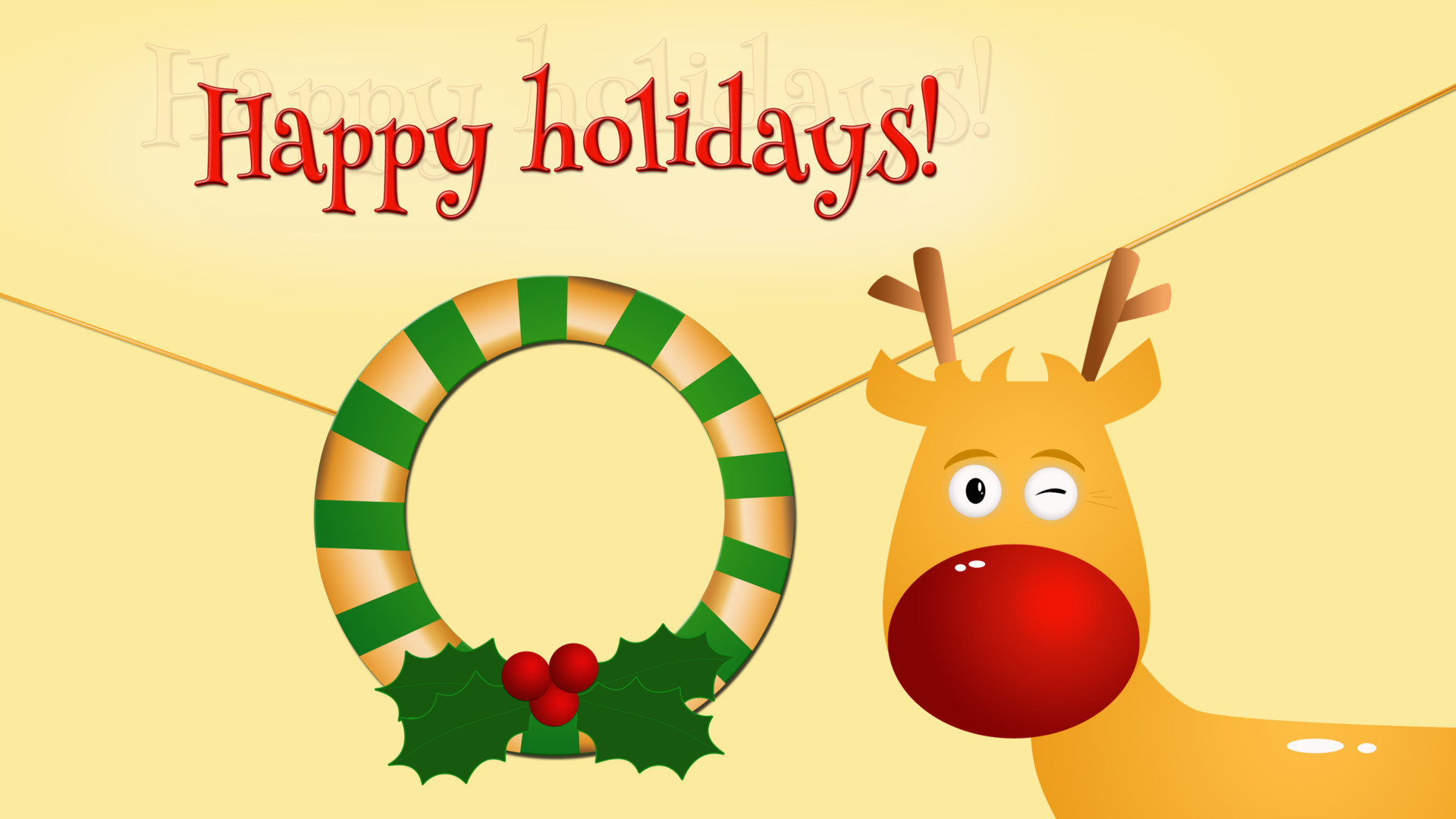 Res: 1920x1080, Happy Holidays Rudolph Christmas Merry Christmas Wreath HD Wallpaper
