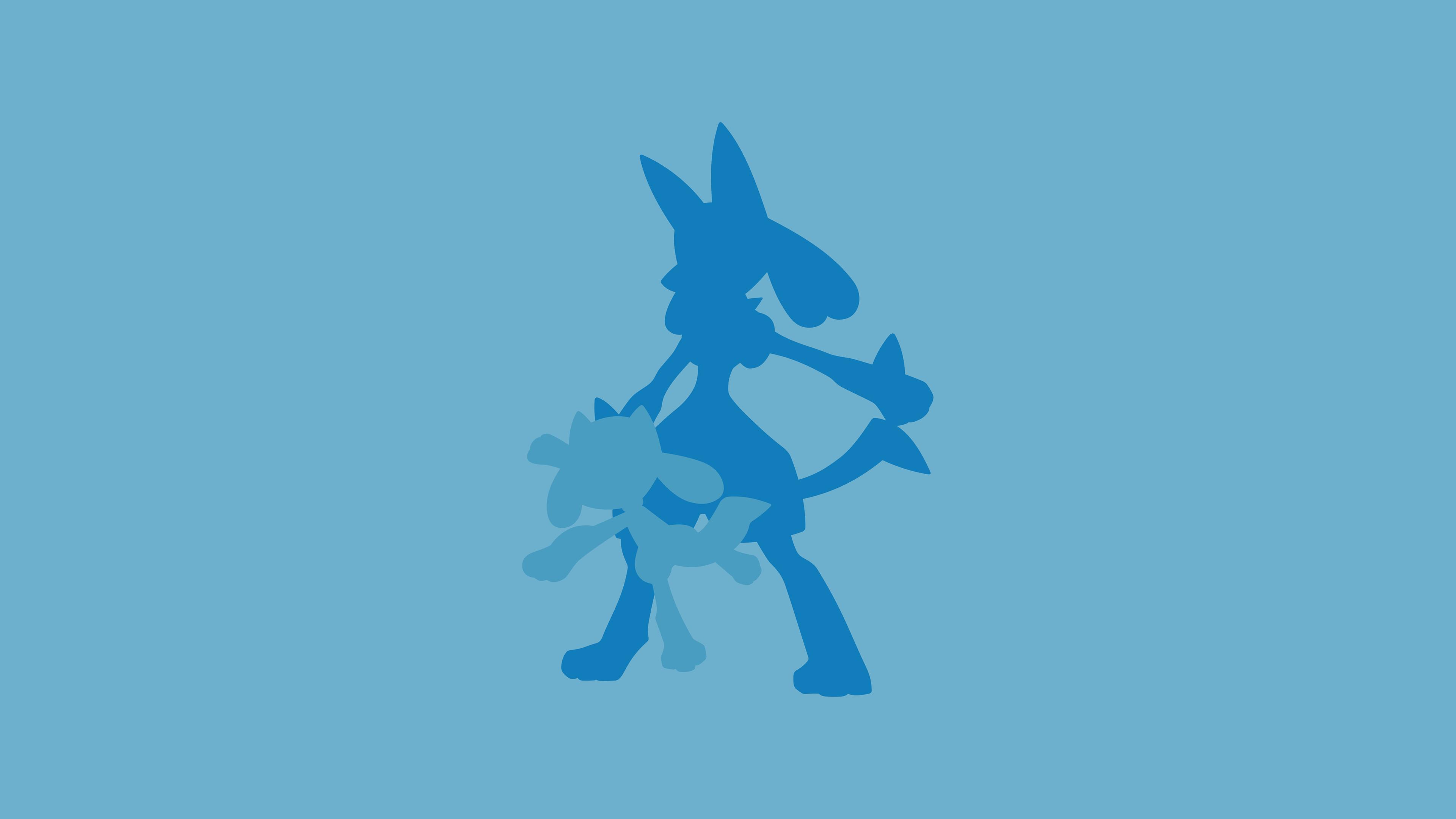 Res: 3840x2160,  Riolu (Pokémon), Lucario (Pokémon) wallpaper and background PNG