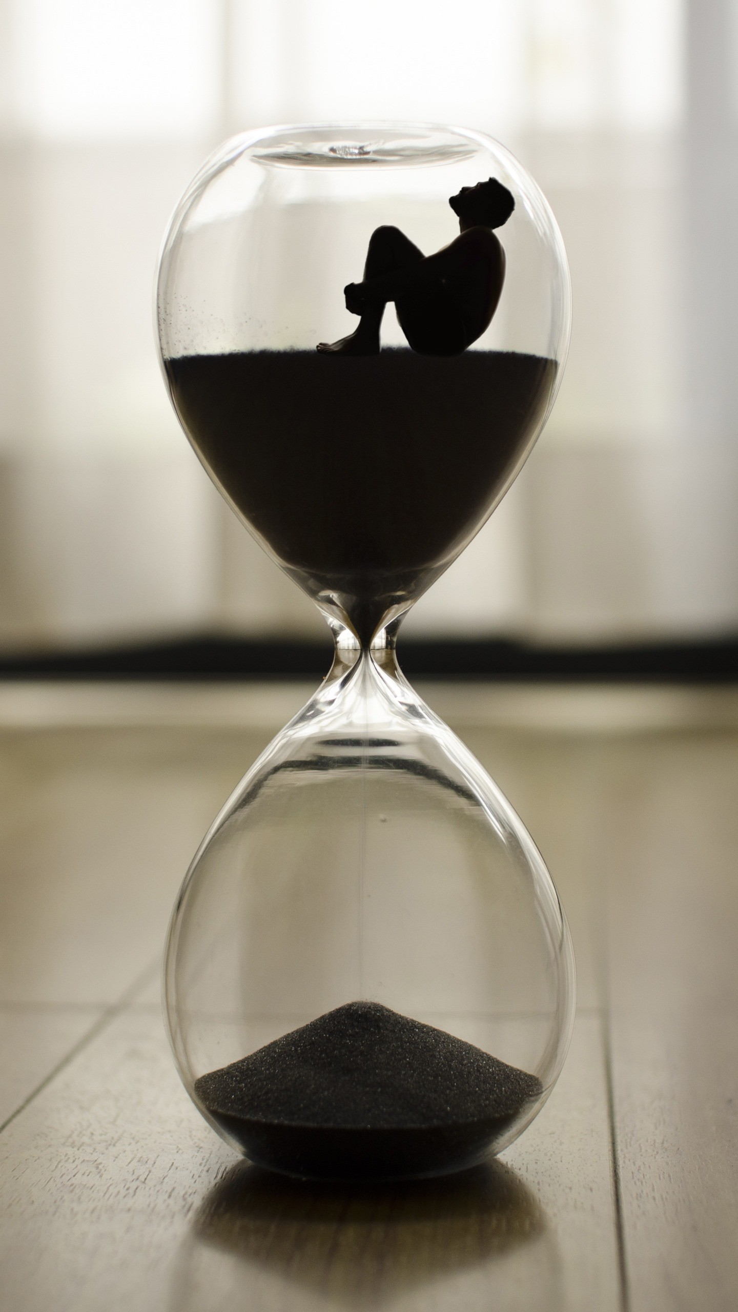 Res: 1440x2560,  Wallpaper hourglass, man, time, loneliness