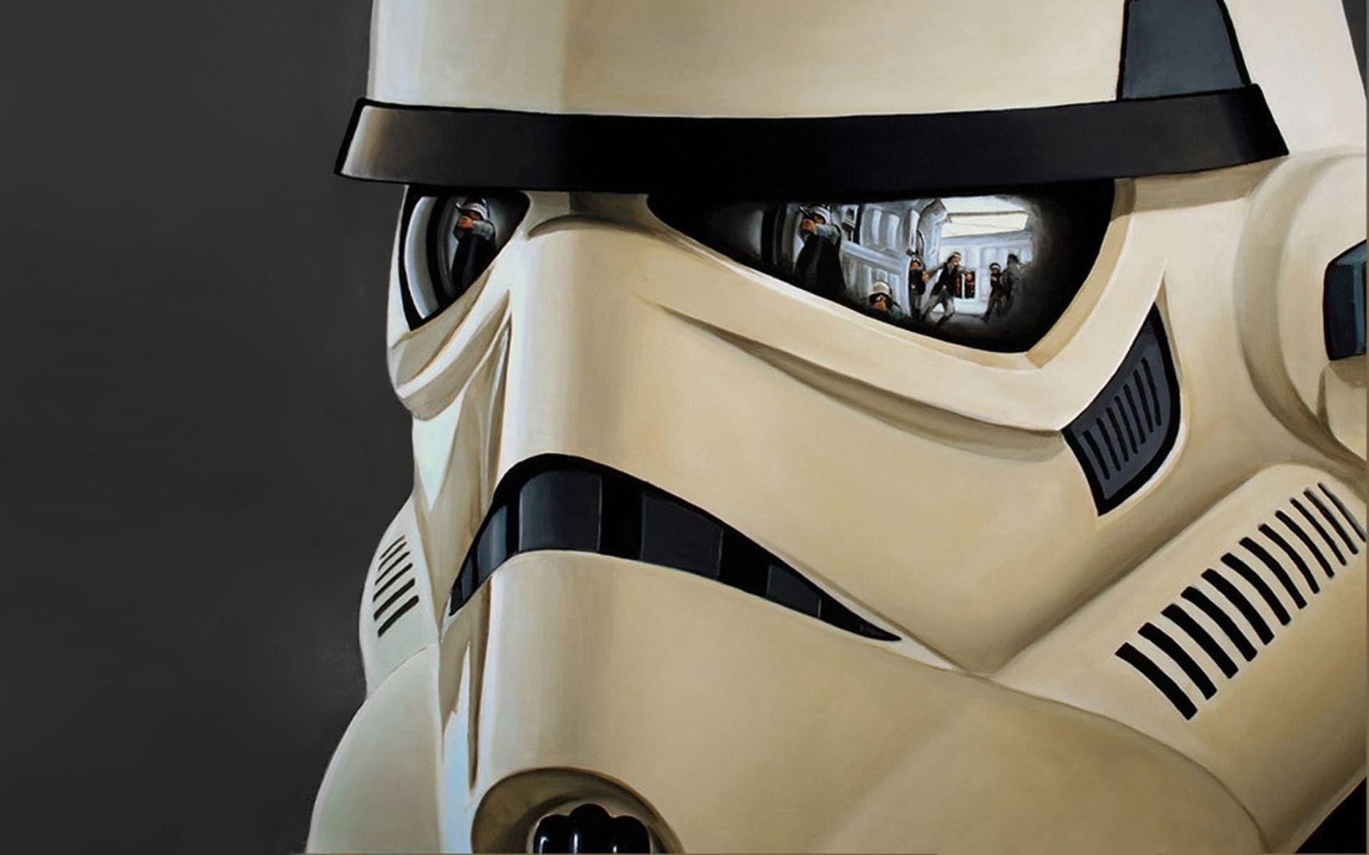 Res: 1920x1200, Stormtrooper helmet reflecting the battle Wallpaper