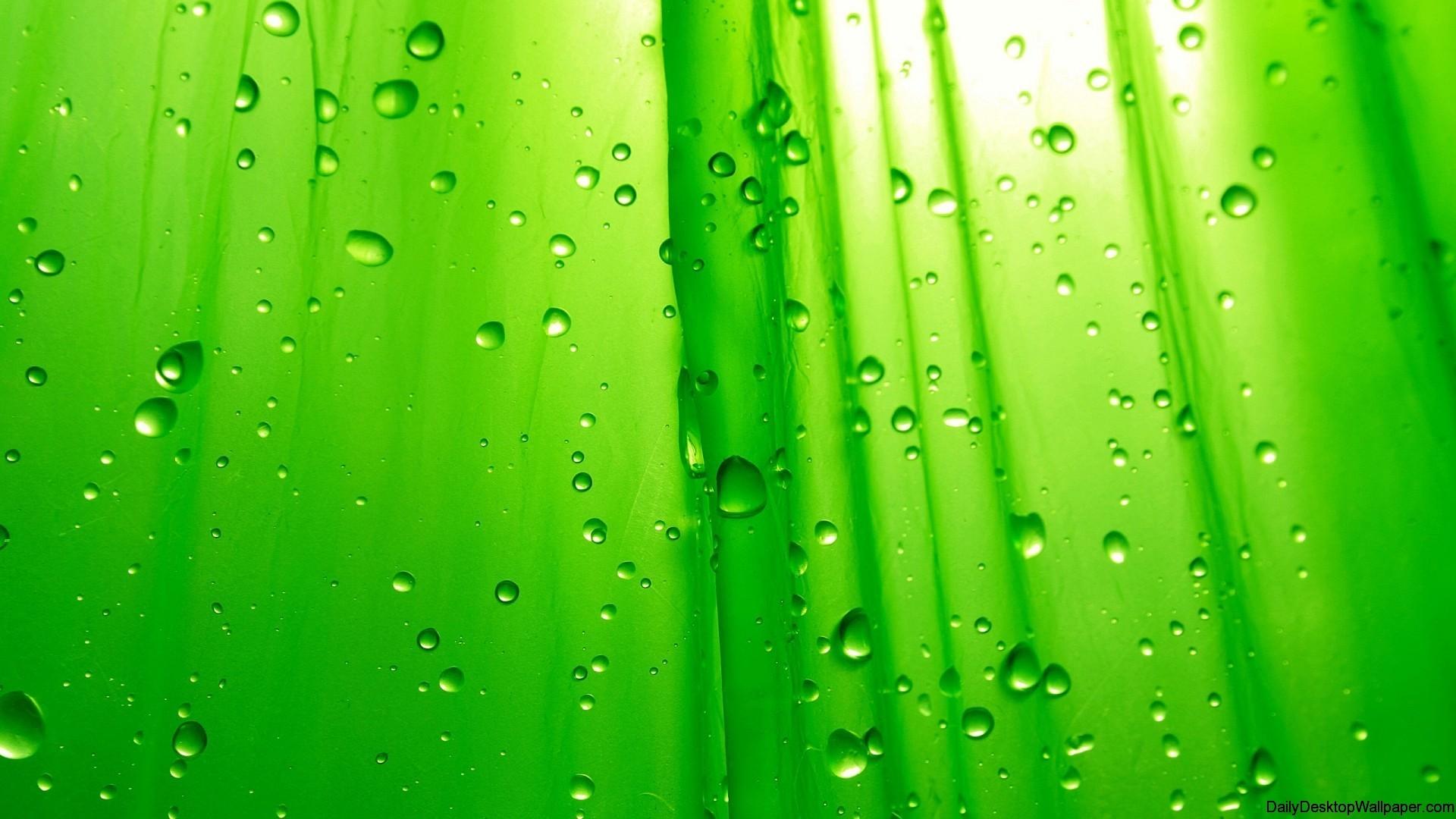 Res: 1920x1080, Green Raindrop Wallpaper