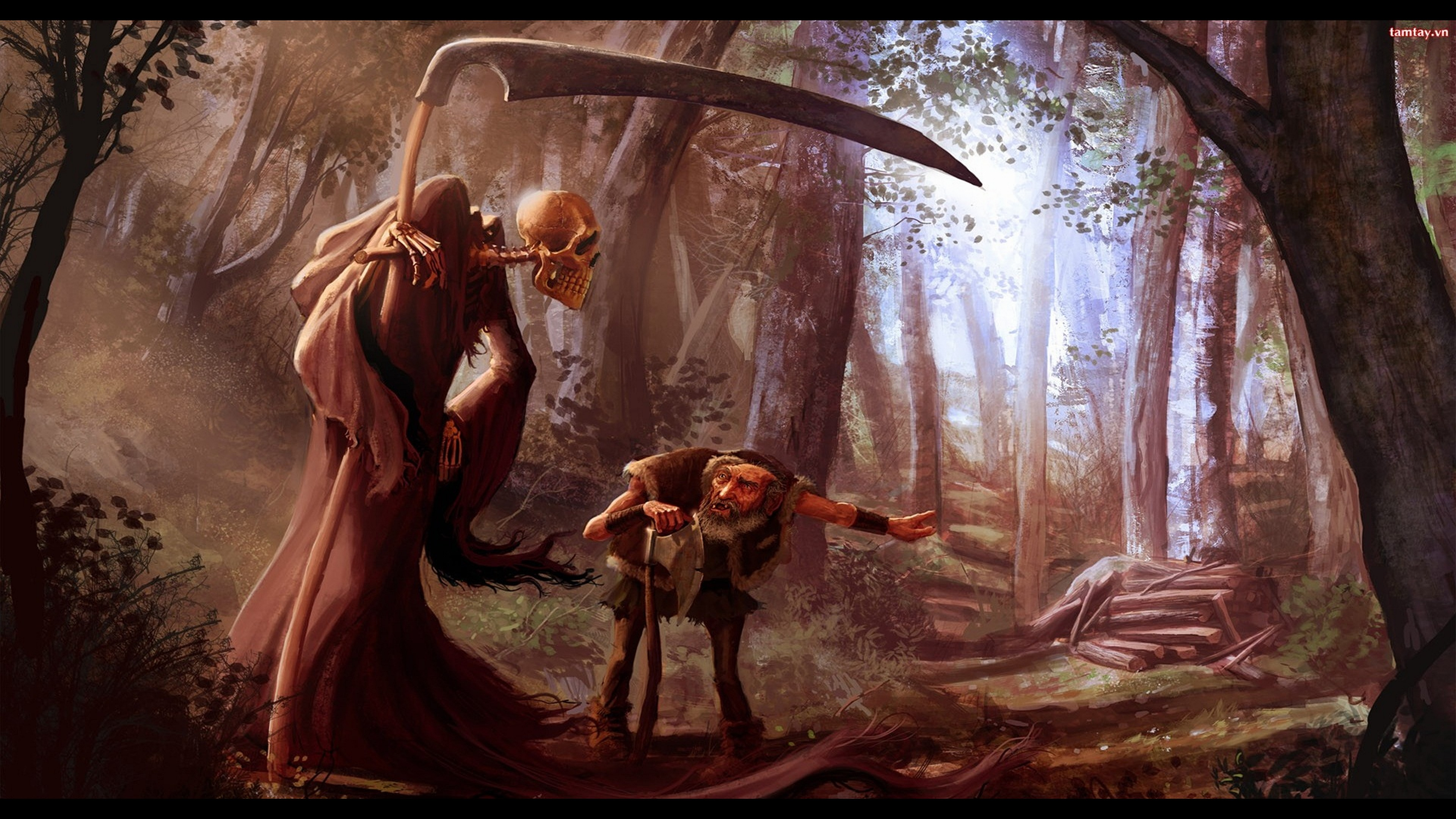 Res: 3840x2160, Dark - Grim Reaper Dwarf Scythe Evil Wallpaper