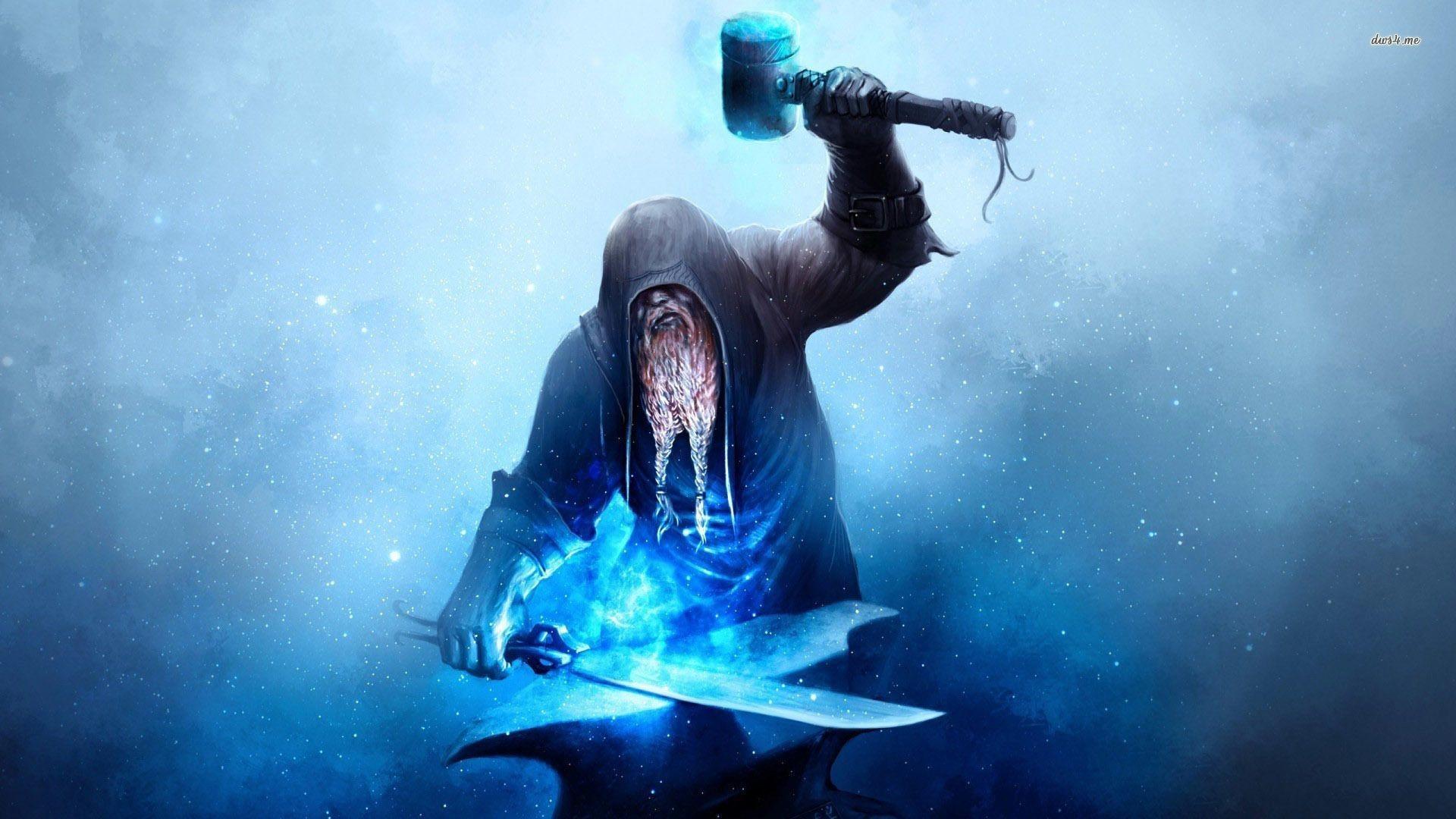Res: 1920x1080, Dwarf blacksmith constructing a magical sword wallpaper - Fantasy .