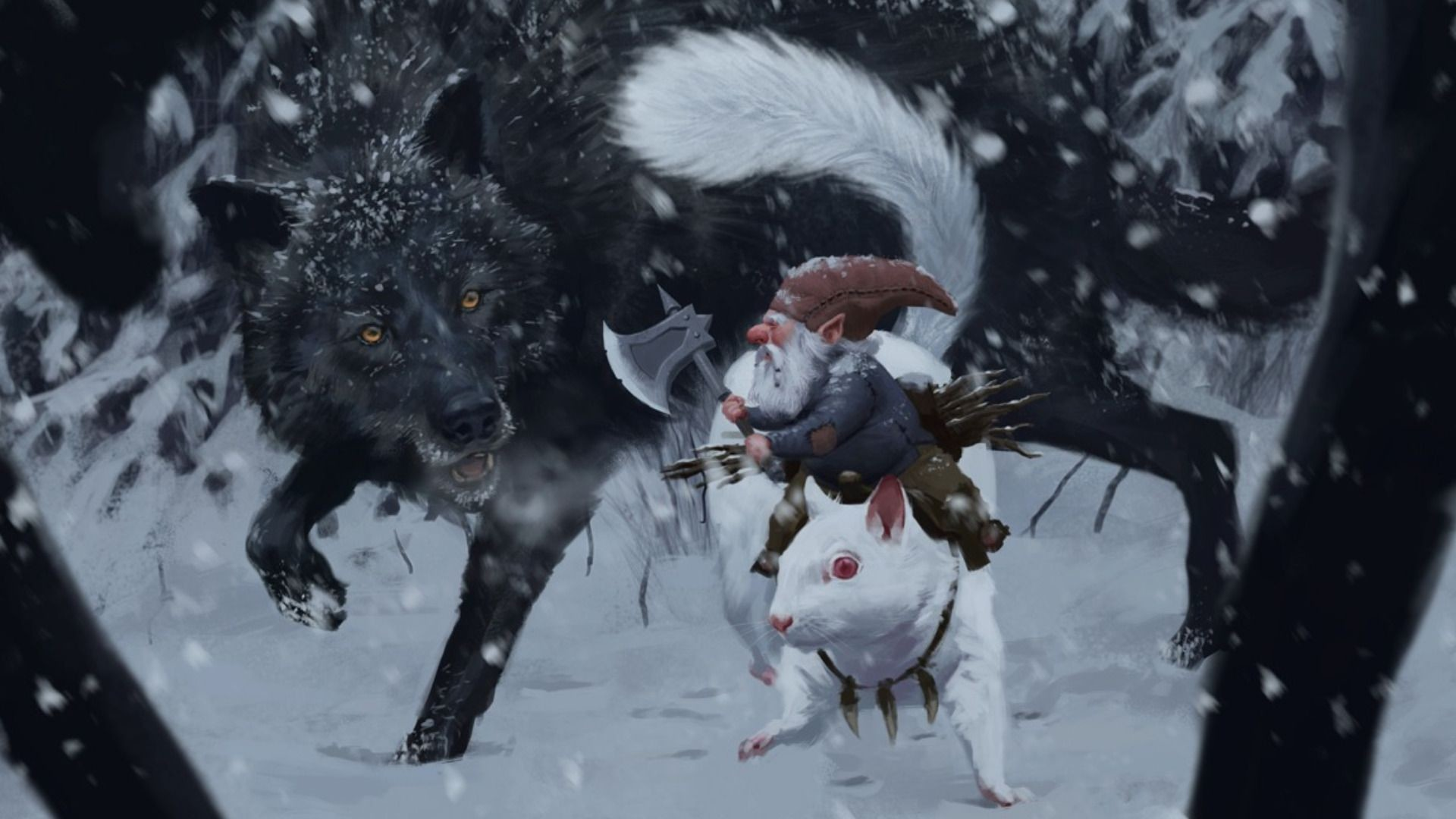 Res: 1920x1080, Dwarf fighting the wolf HD Wallpaper