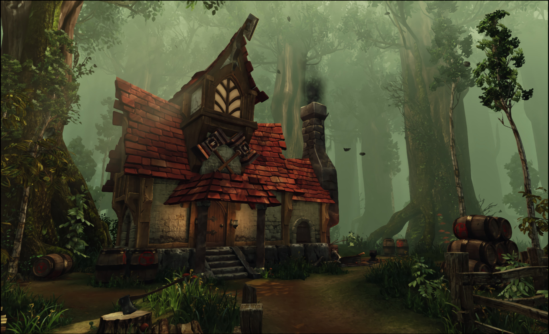 Res: 1920x1169, Fantasy - House Fantasy Forest Wallpaper