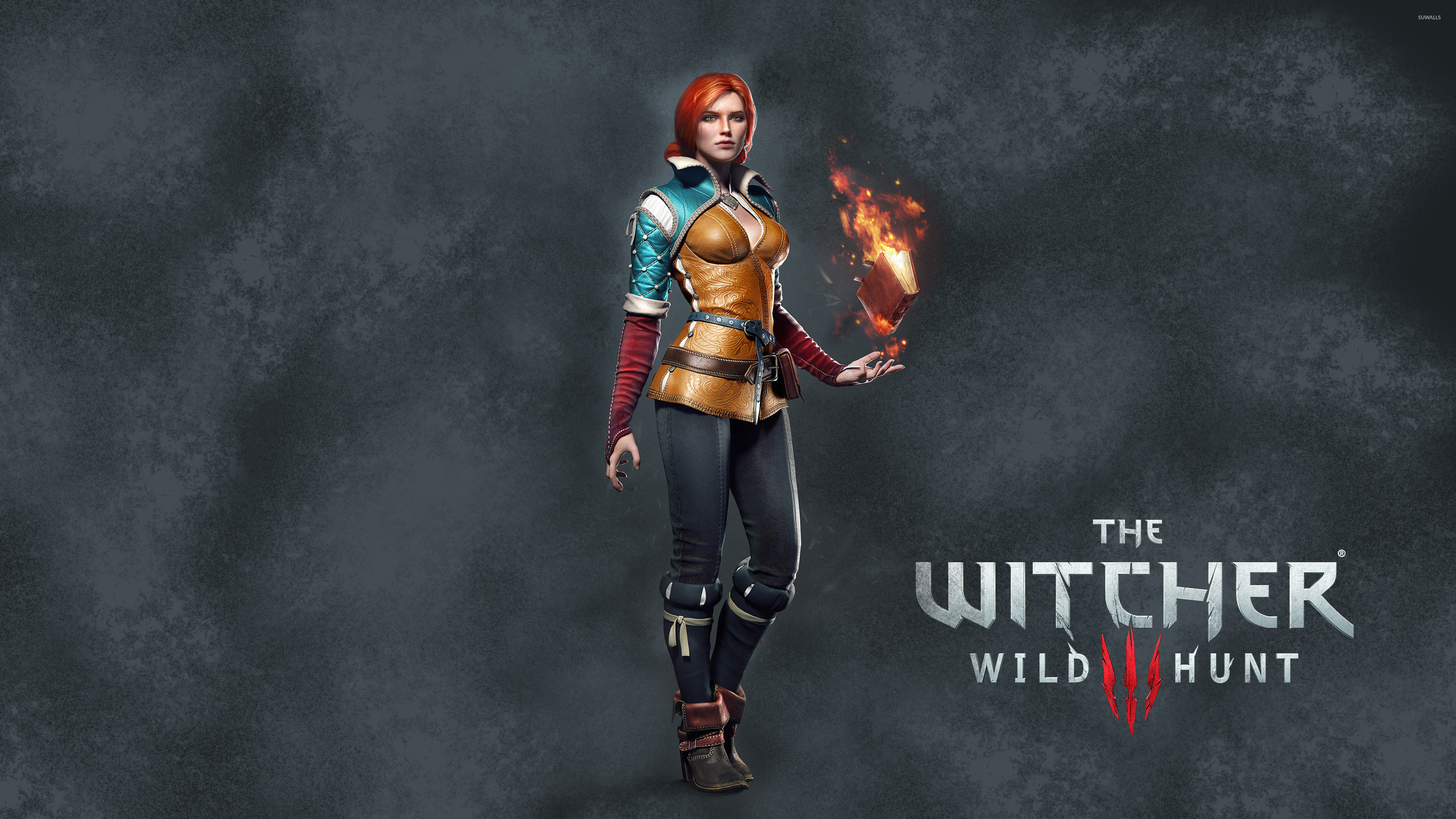 Res: 3840x2160, Triss Merigold with a book - The Witcher 3: Wild Hunt wallpaper