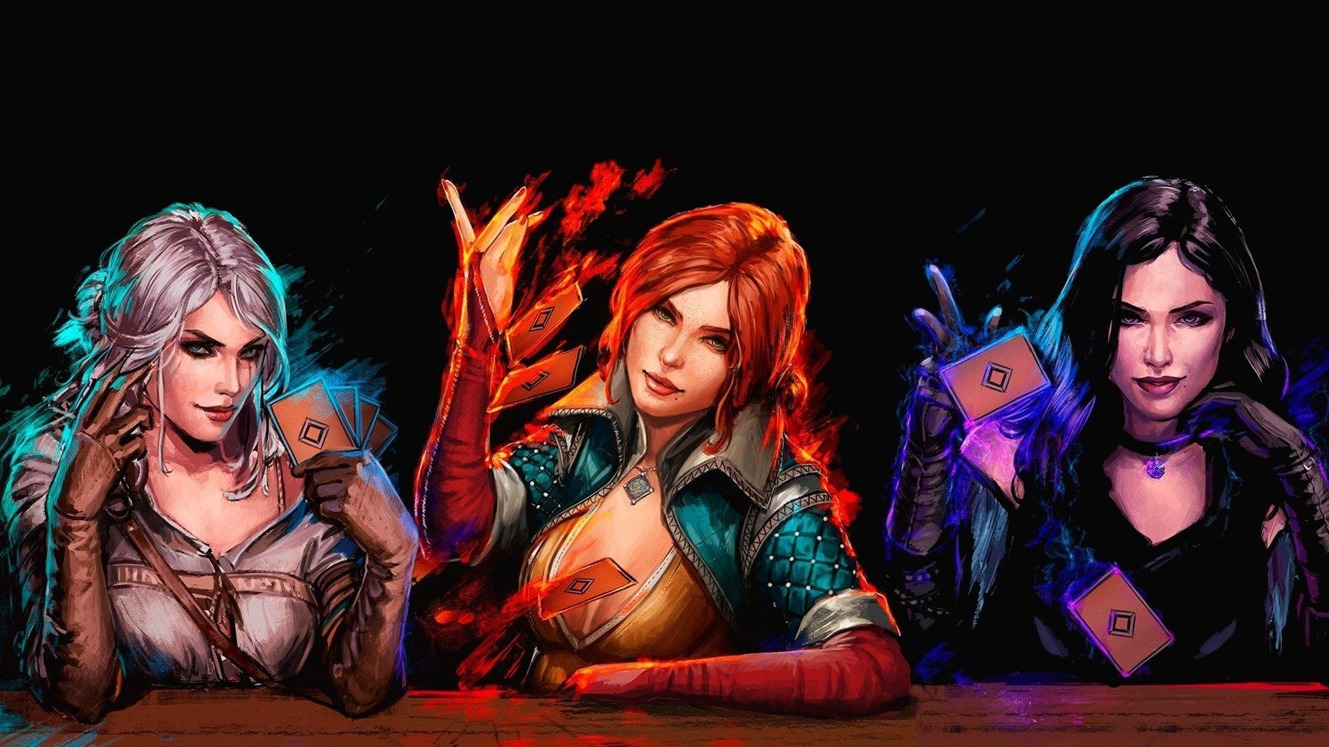 Res: 1920x1080, Video Game Gwent: The Witcher Card Game Orange Hair Black Hair Ciri (The  Witcher
