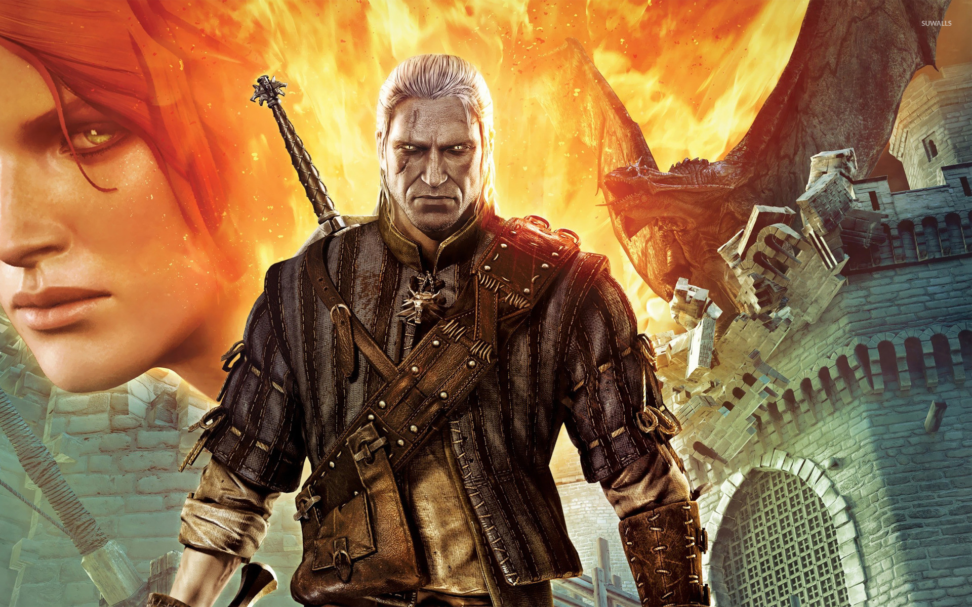Res: 1920x1200, Triss Merigold and Geralt - The Witcher 2 wallpaper