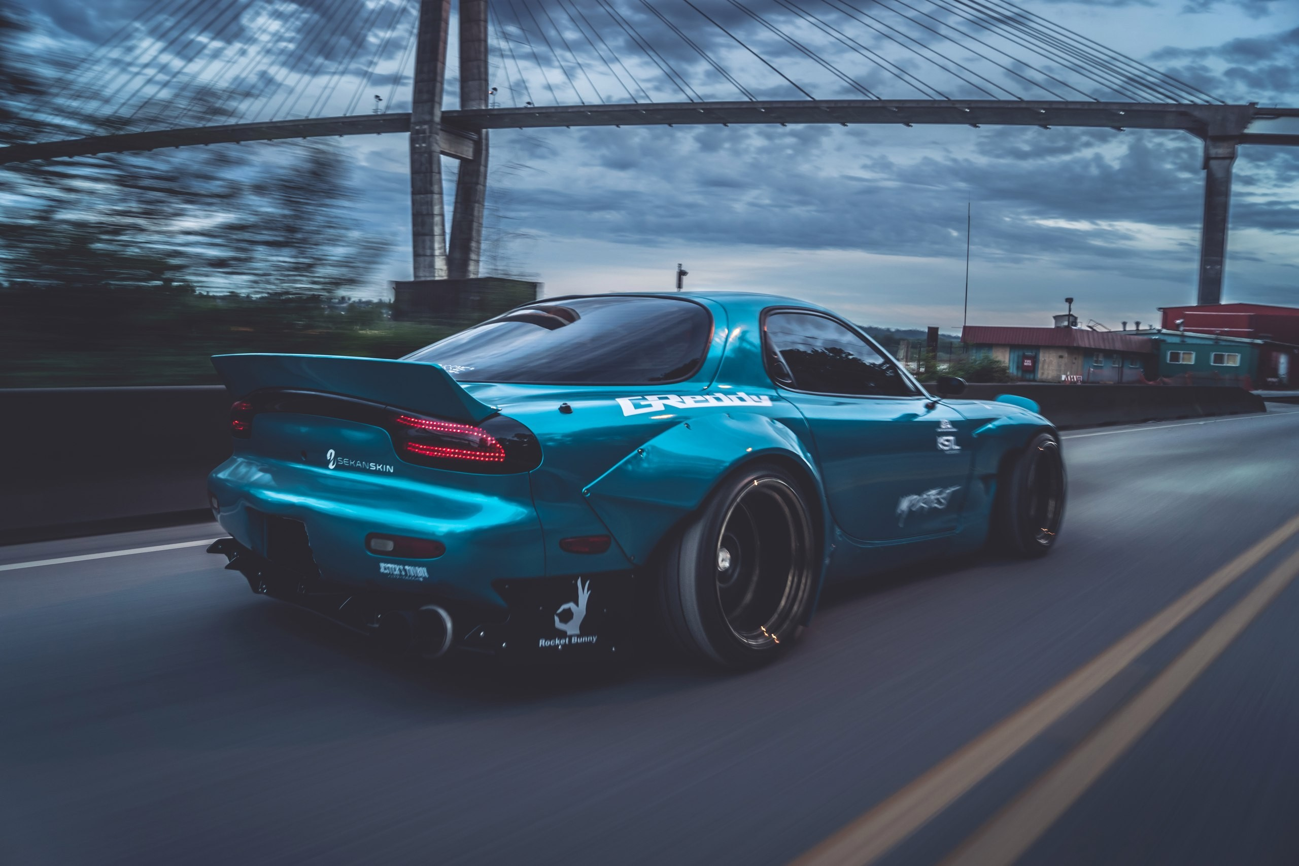 Res: 2560x1707, sports car, Mazda RX 7, Mazda, Blue cars, Bridge, Rocket Bunny