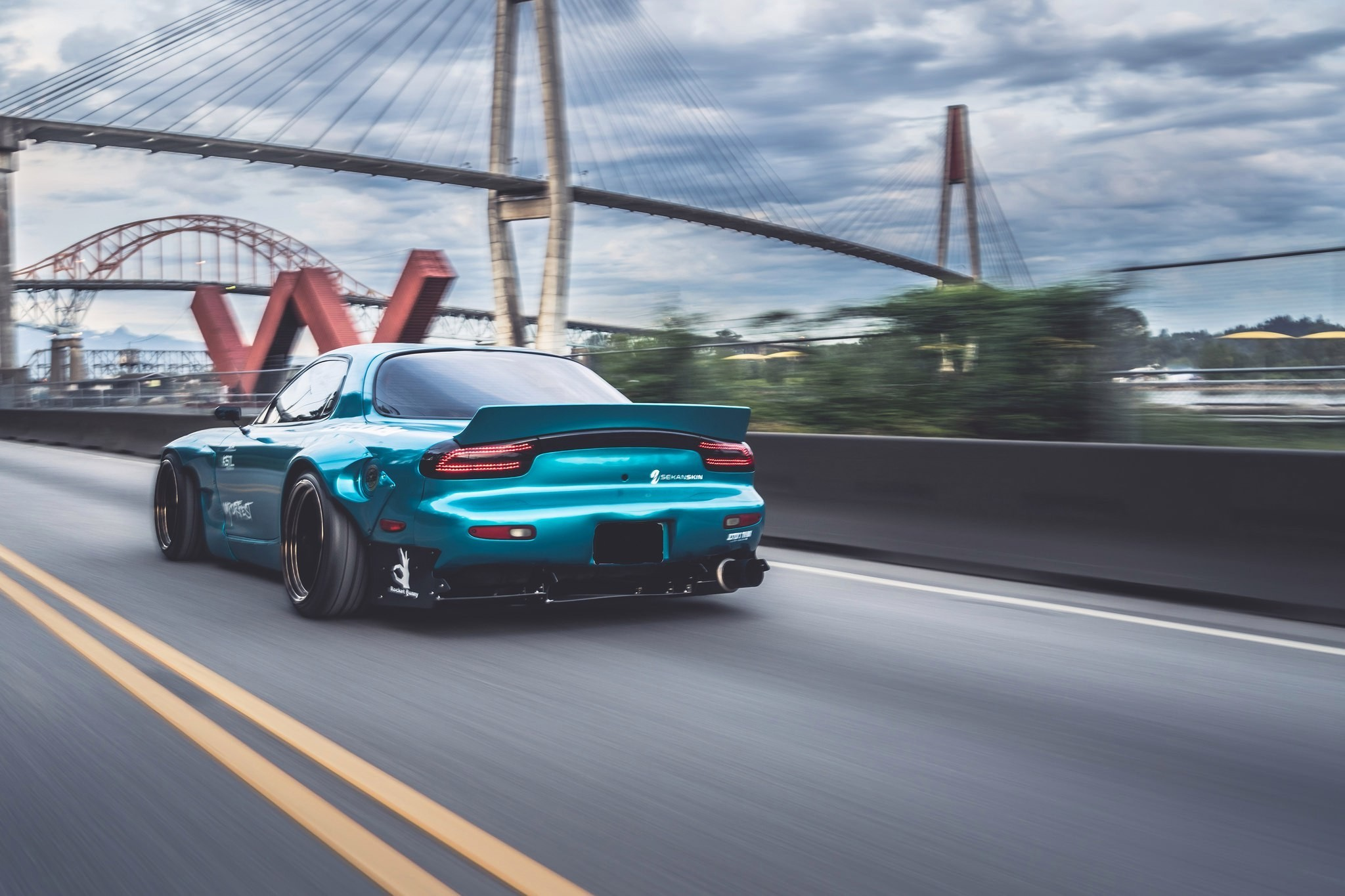 Res: 2048x1365, sports car, Mazda RX 7, Mazda, Blue cars, Bridge, Rocket Bunny Wallpapers  HD / Desktop and Mobile Backgrounds