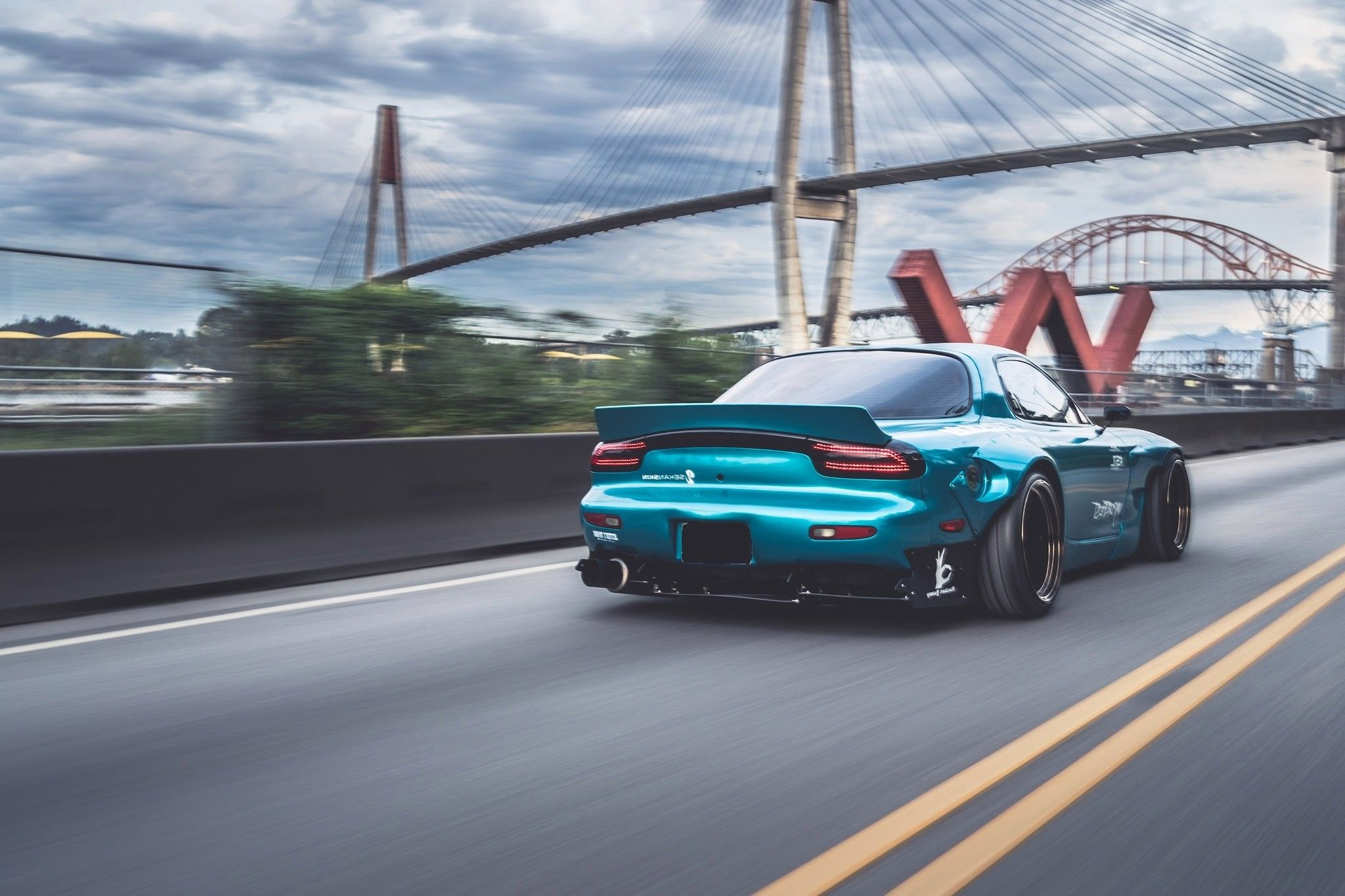 Res: 2048x1365, Sports Car Mazda Rx-7 Blue Cars Bridge Rocket Bunny
