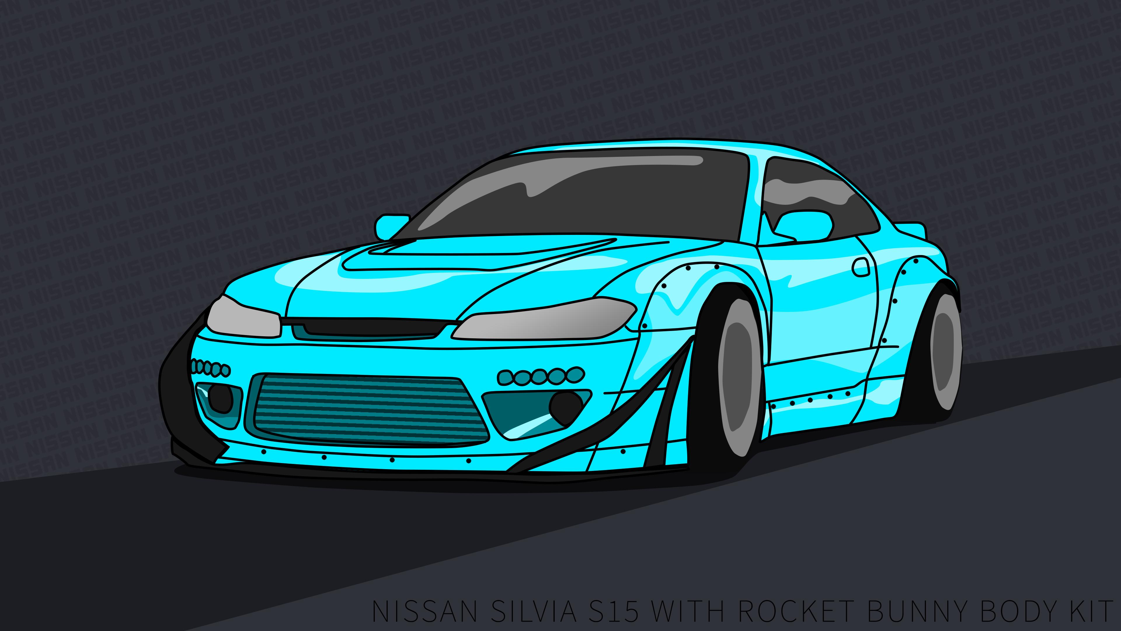 Res: 3840x2160, Nissan Silvia S15 wallpaper 4k rocket bunny LgtBlu by ItsBarney01