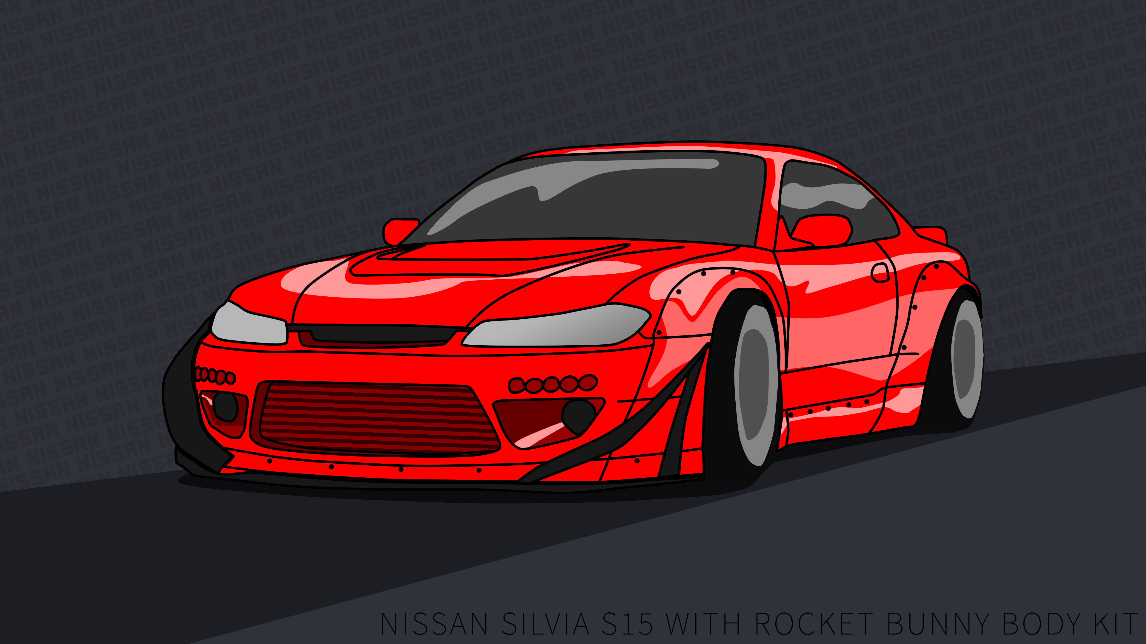 Res: 3840x2160, Nissan Silvia S15 wallpaper 4k rocket bunny Red by ItsBarney01