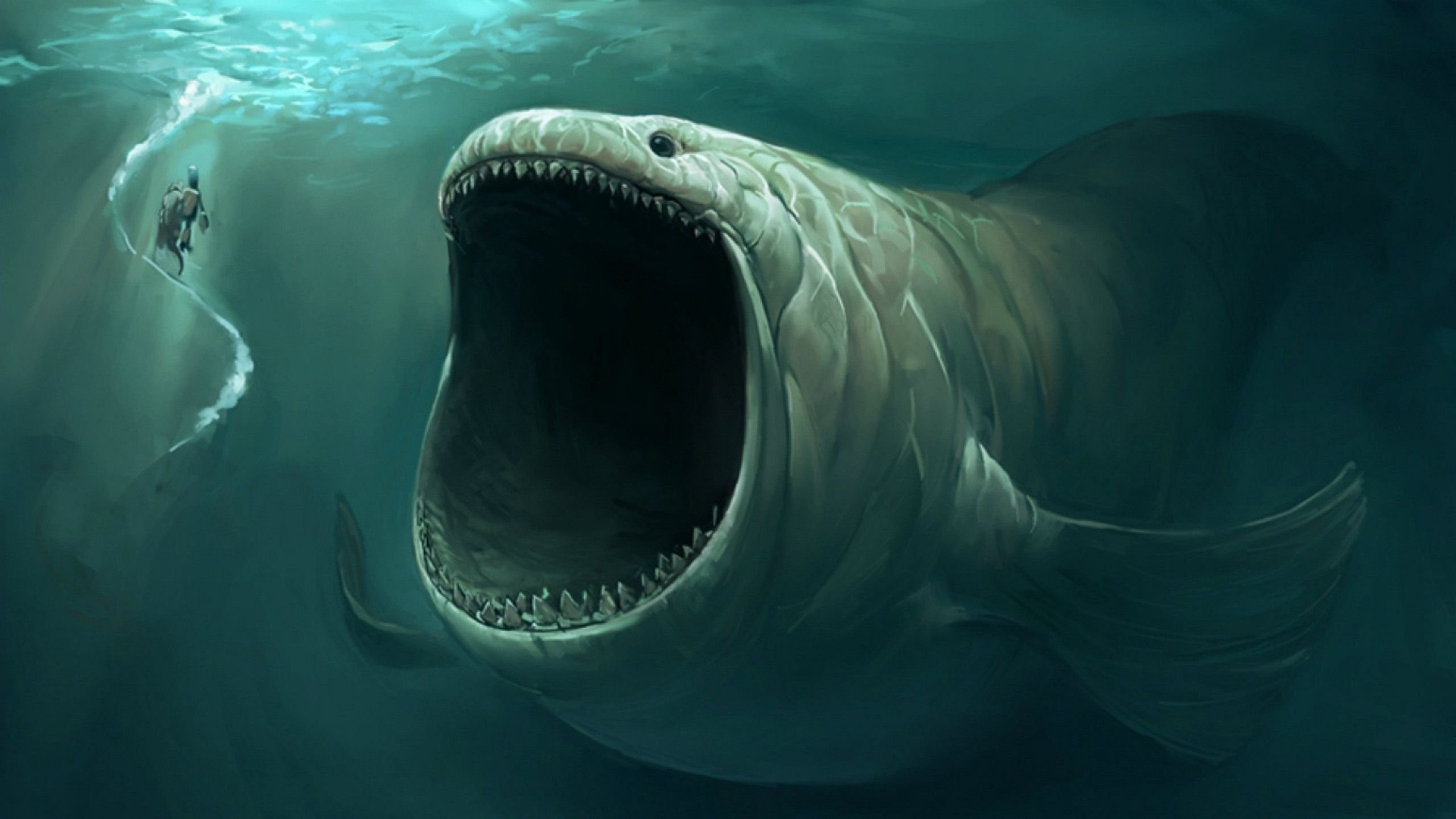 Res: 2560x1440, scary fish in the ocean