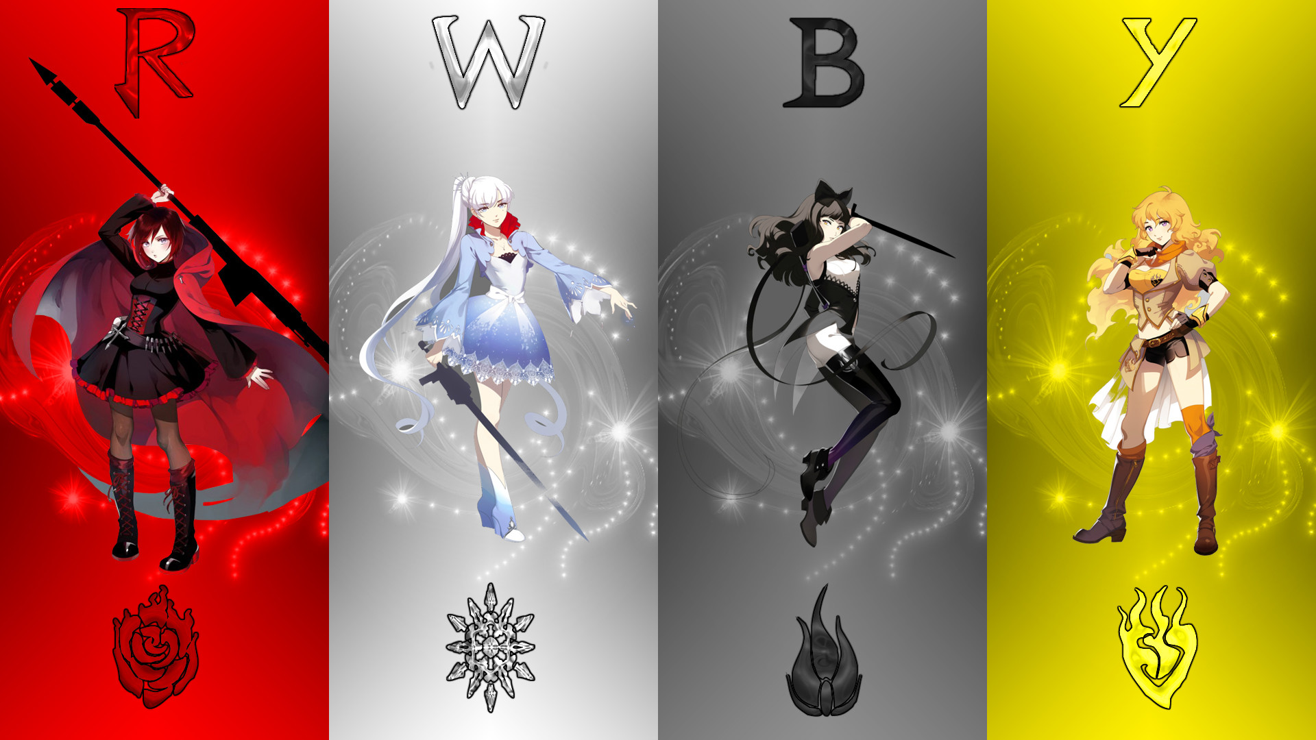 Res: 1920x1080, rwby ruby rose blake belladonna yang xiao long weiss schnee rooster teeth  red yellow black white