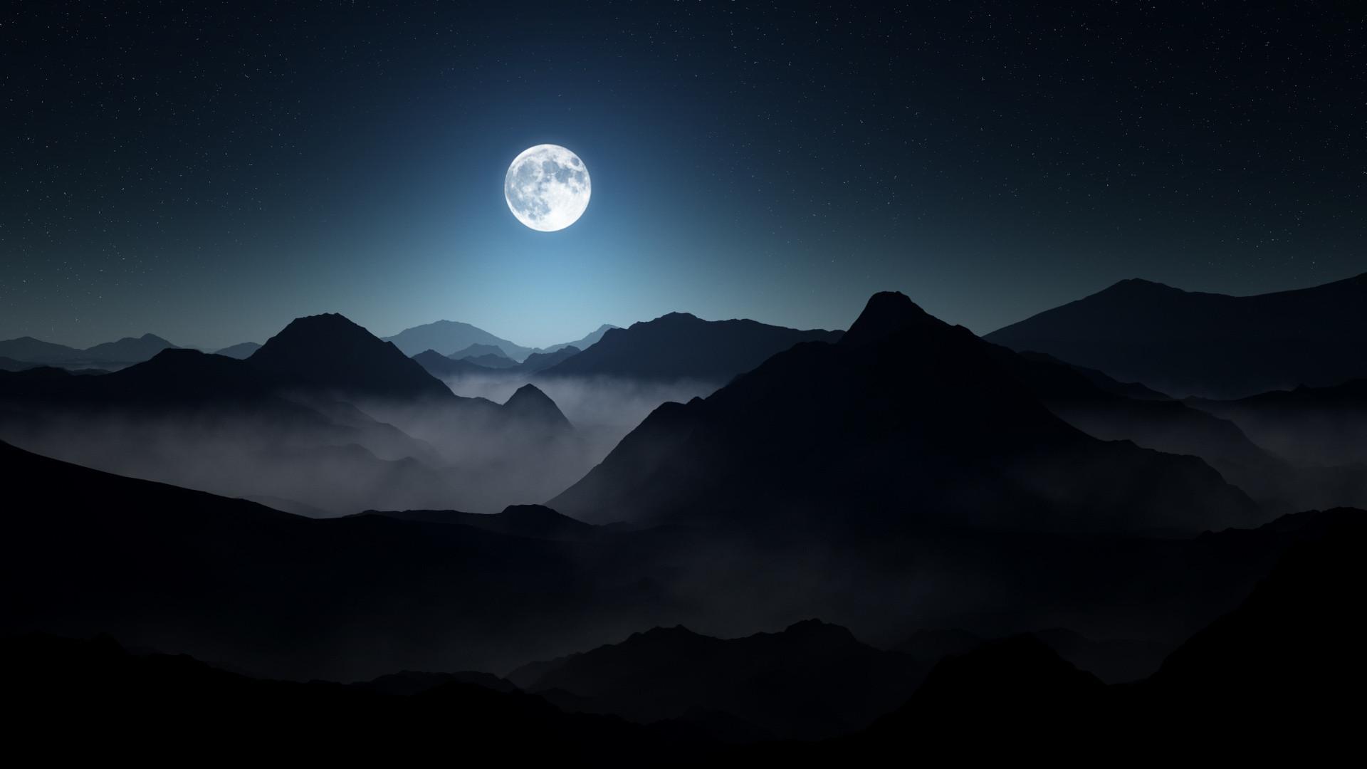 Res: 1920x1080, Full Moon Dark Mountains Wallpaper