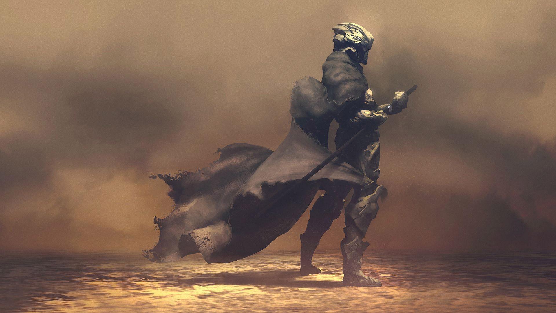 Res: 1920x1080, Futuristic Samurai in Smoke Wallpaper