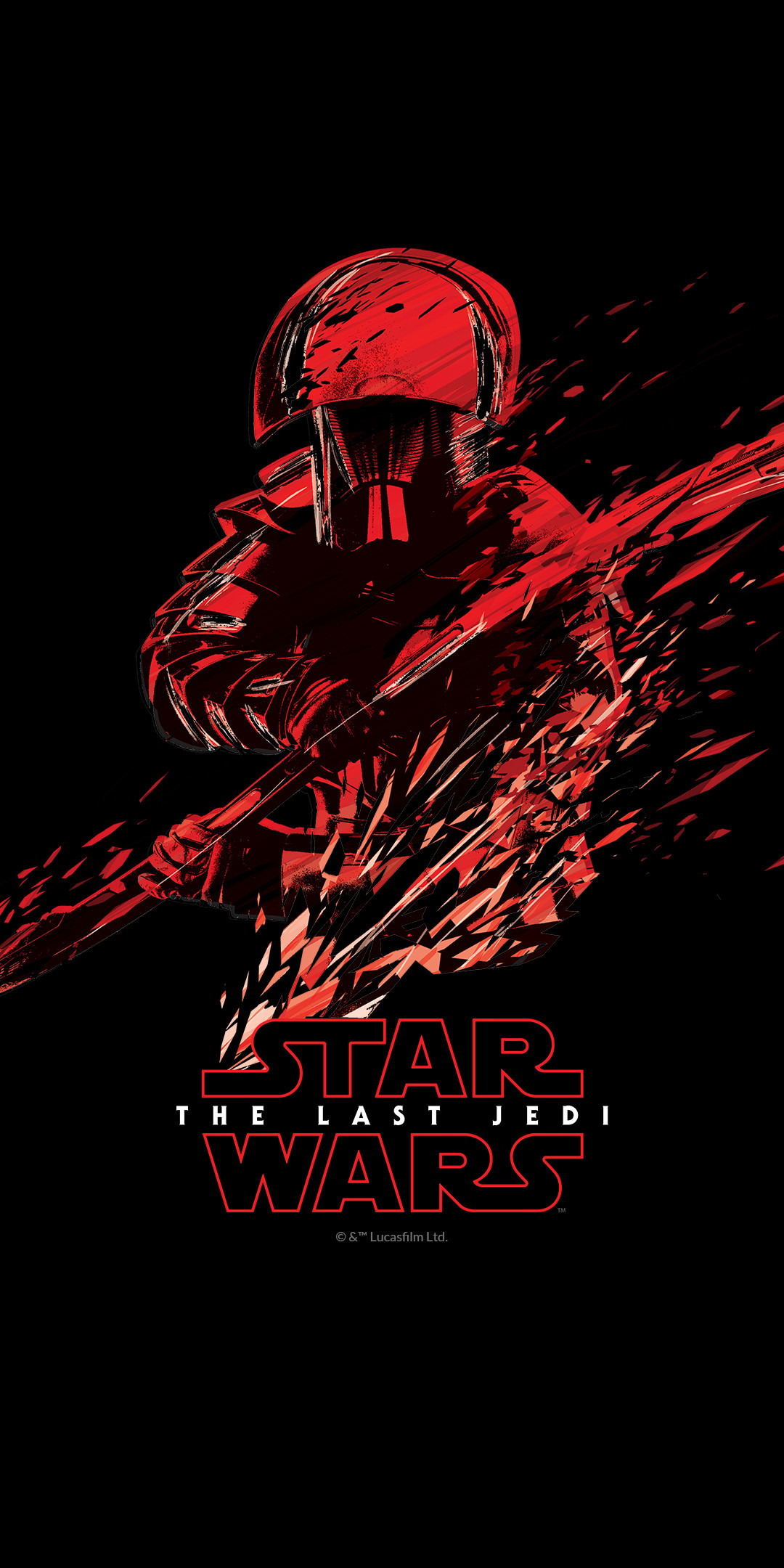 Res: 1080x2160, The first wallpaper shows the Star Wars: The Last Jedi logo. Next you'll  find a dual-image of Kylo Ren, one in black, the other in red.