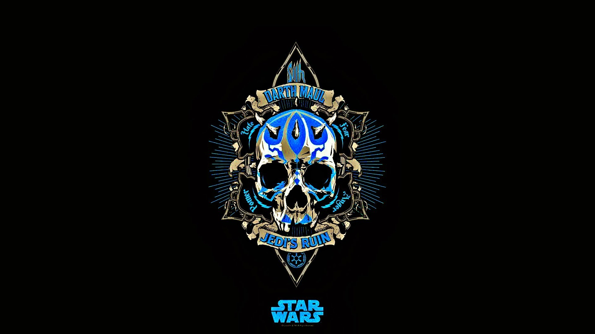 Res: 1920x1080, Star Wars, Jedi, Skull, Blue, Black, Darth Maul, Minimalism Wallpapers HD /  Desktop and Mobile Backgrounds
