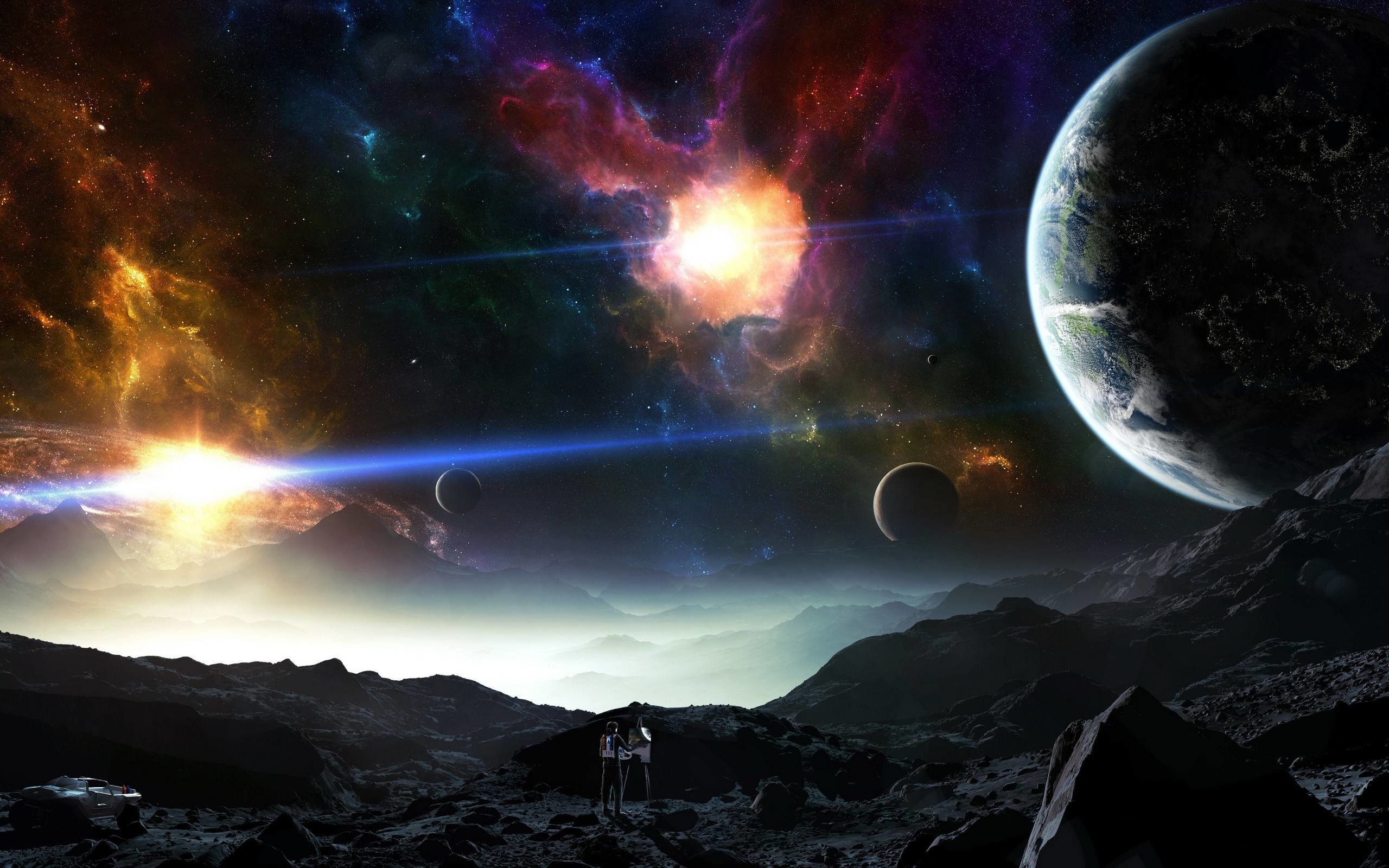 Res: 2560x1600, Fantasy Planets Land Worlds Universe Space wallpaper #