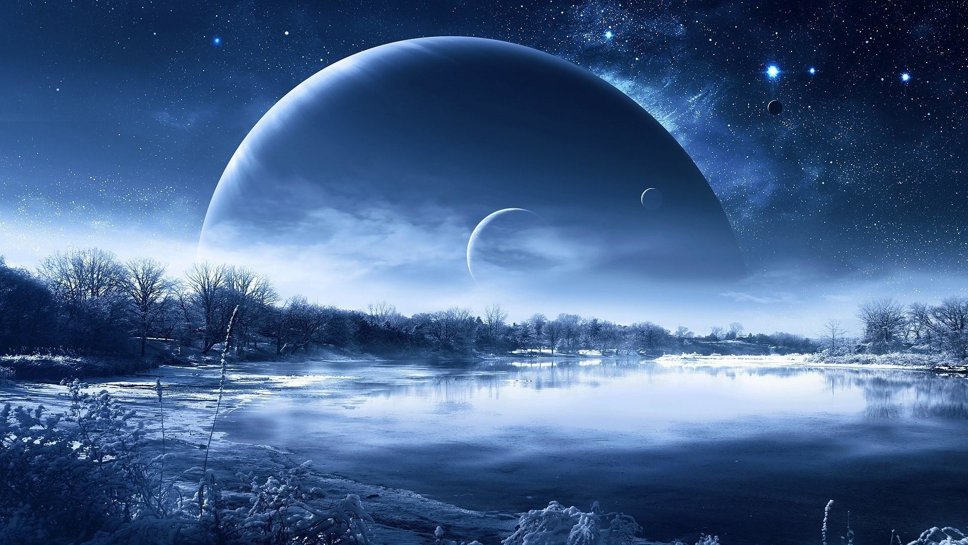 Res: 1920x1080, Fantasy Planet Above The Lake Wallpaper | Wallpaper Studio 10 | Tens of  thousands HD and UltraHD wallpapers for Android, Windows and Xbox