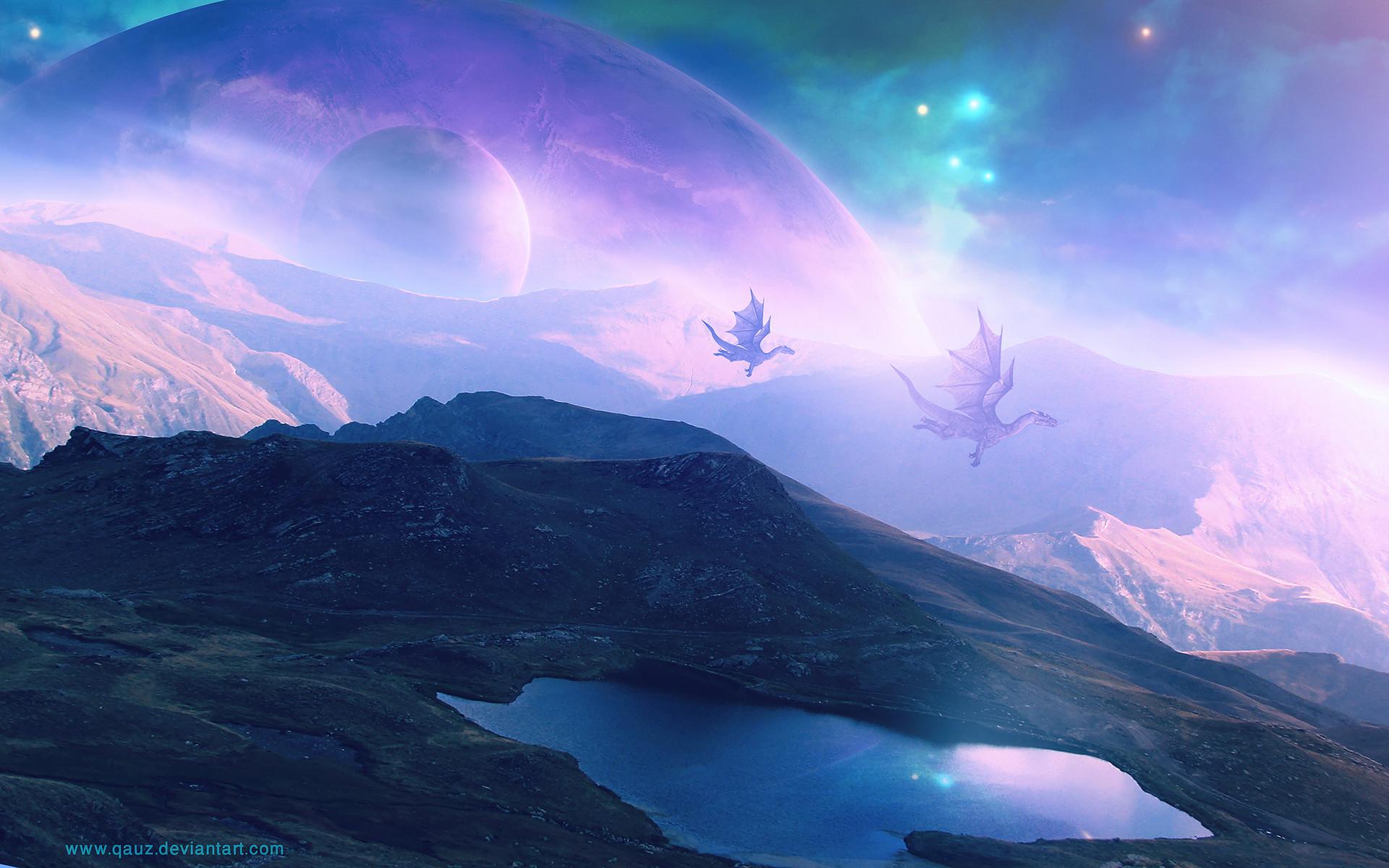 Res: 1920x1200, Dragon Purple Landscape Planets fantasy wallpaper |  | 112725 |  WallpaperUP